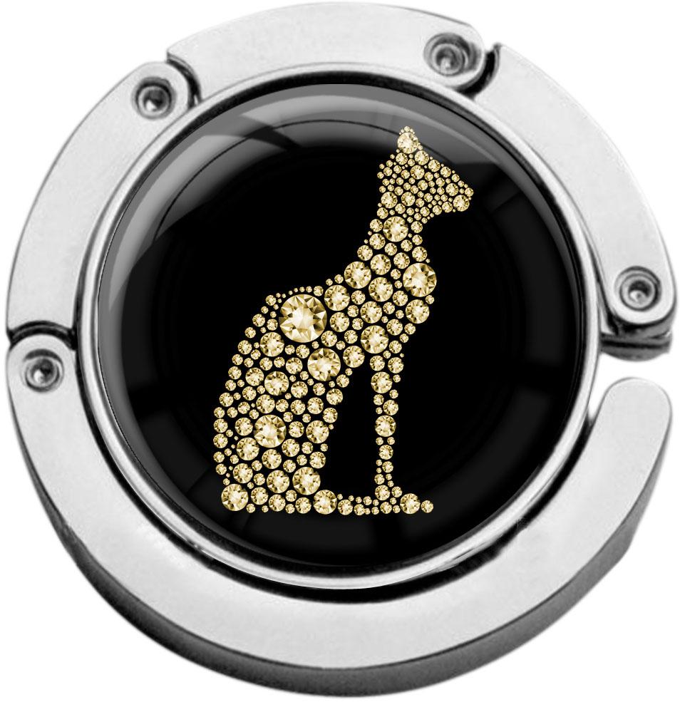 """metALUm Taschenaufhänger in runder Form """"Katze in Gold"""""""