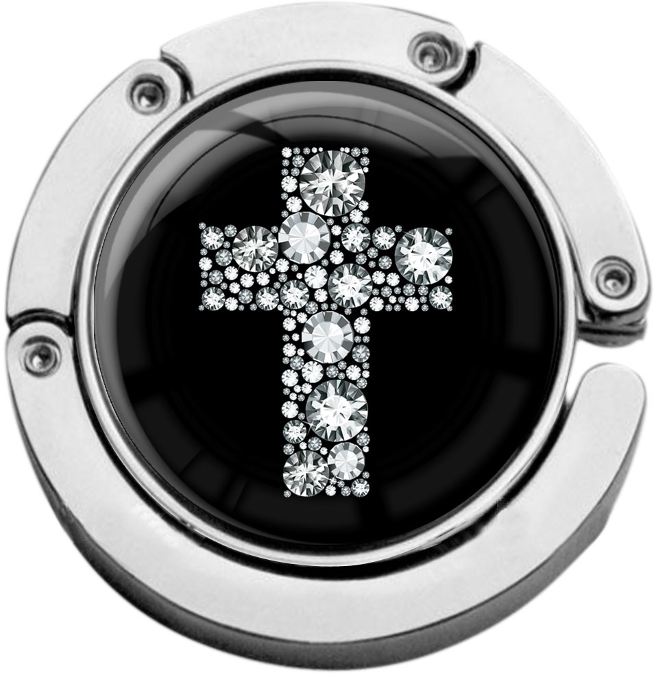 """metALUm Taschenaufhänger in runder Form """"Kreuz in Silber"""""""