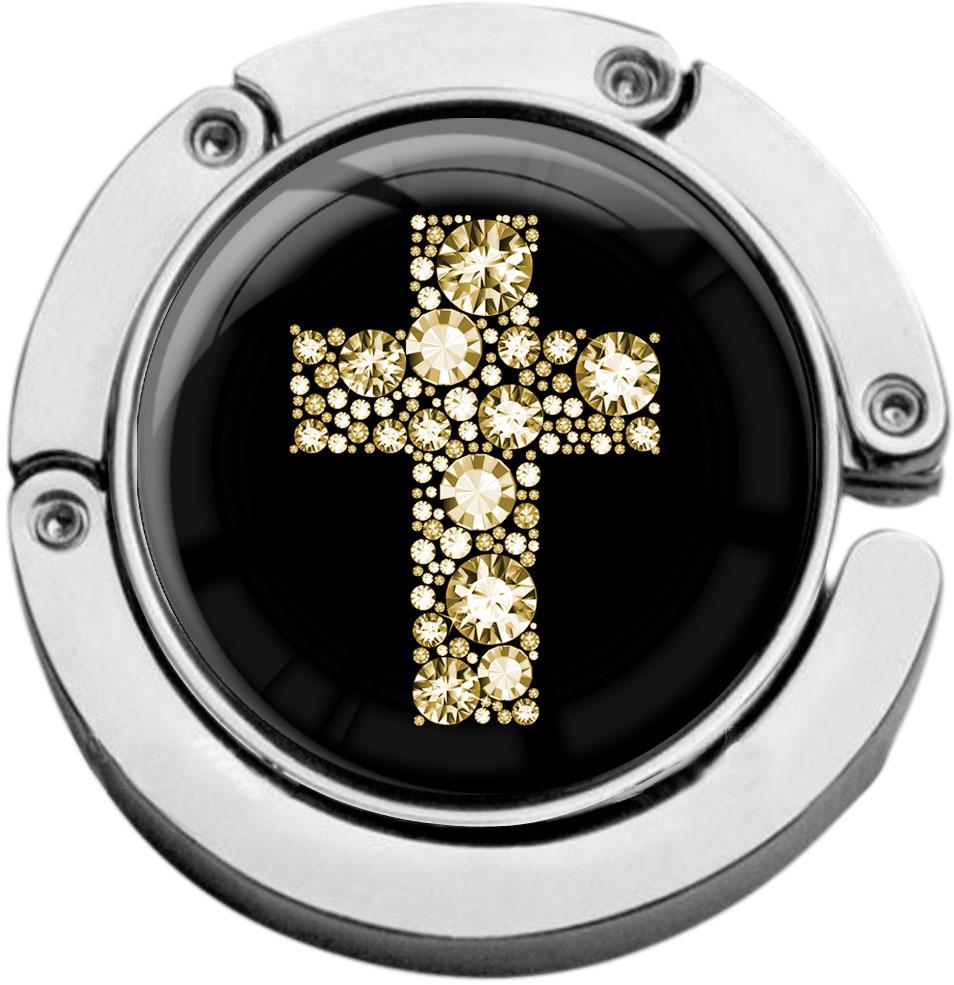 """metALUm Taschenaufhänger in runder Form """"Kreuz in Gold"""""""