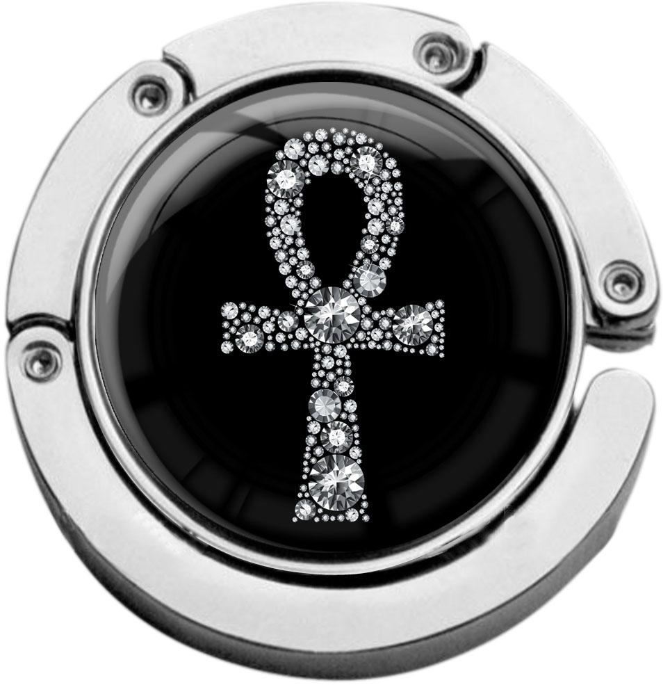 """metALUm Taschenaufhänger in runder Form """"Ankh in Silber"""""""