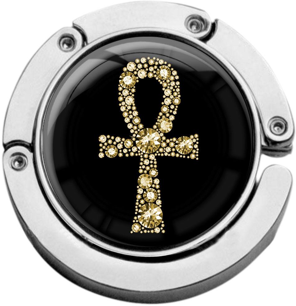"""metALUm Taschenaufhänger in runder Form """"Ankh in Gold"""""""