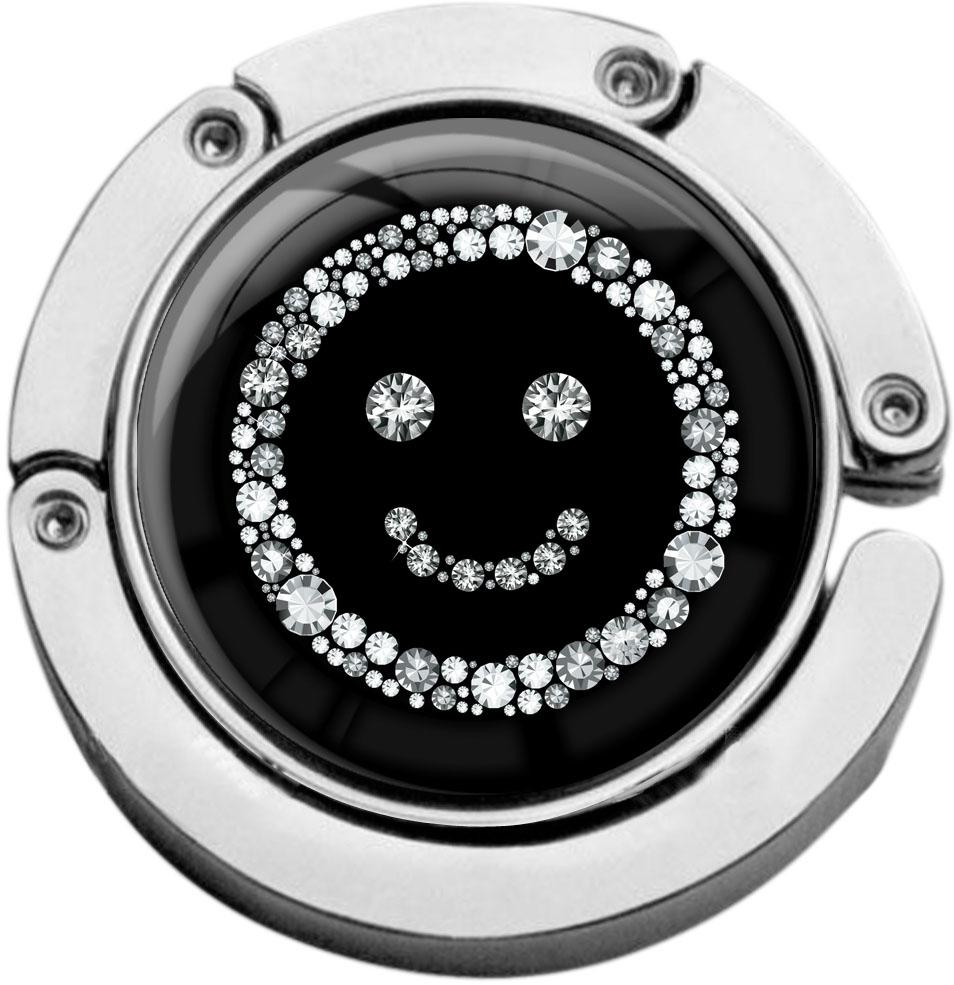 """metALUm Taschenaufhänger in runder Form """"Smiley in Silber"""""""