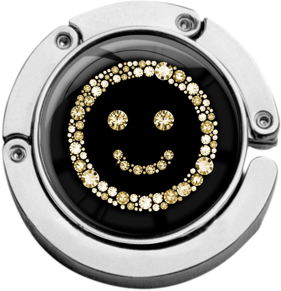 """metALUm Taschenaufhänger in runder Form """"Smiley in Gold"""""""