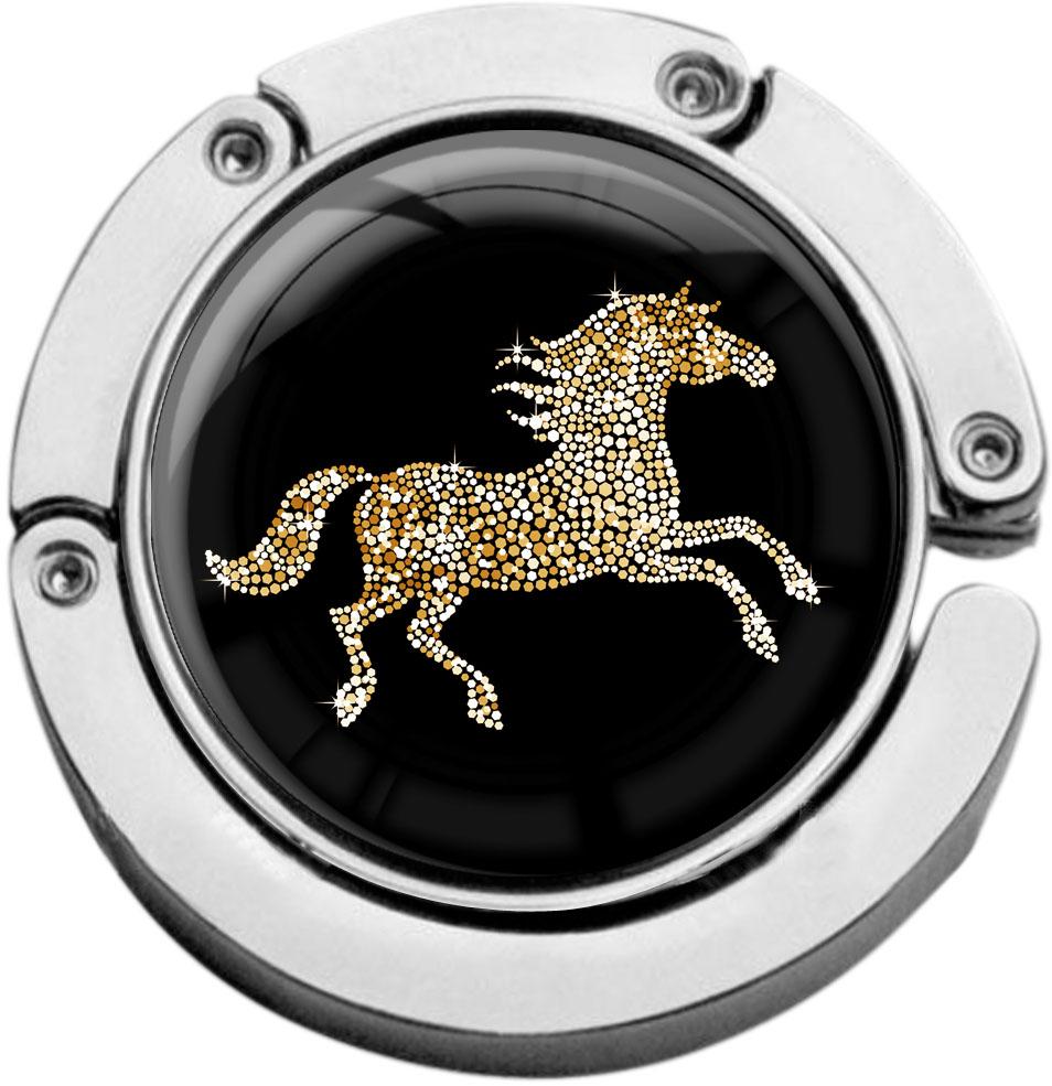 """metALUm Taschenaufhänger in runder Form """"Pferd in Gold"""""""