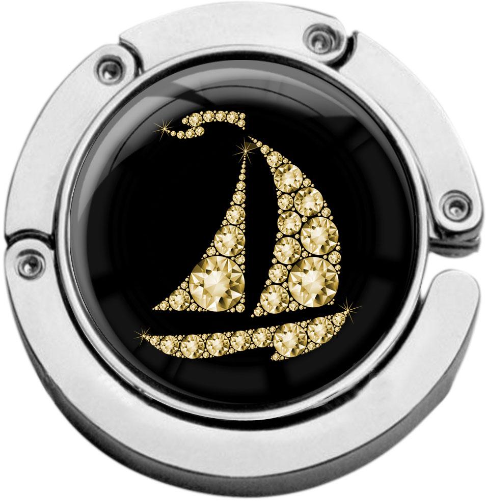 """metALUm Taschenaufhänger in runder Form """"Segelboot in Gold"""""""