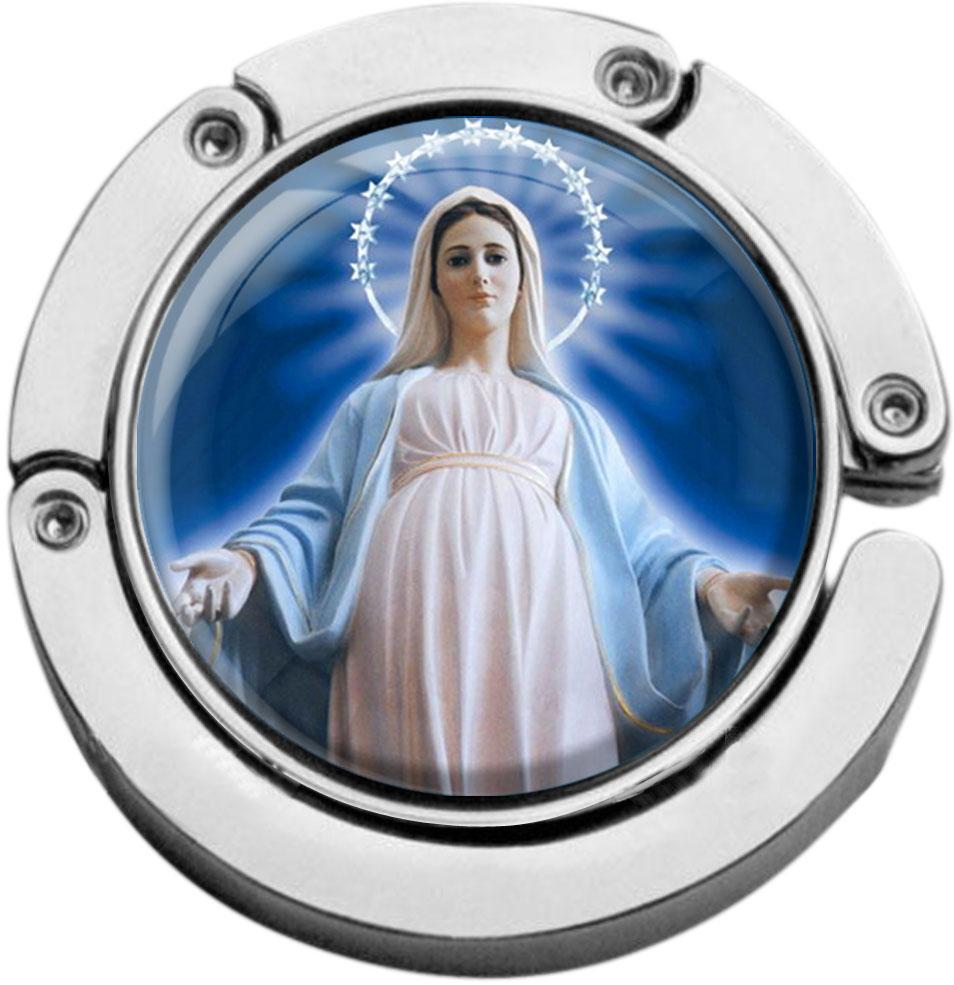 """metALUm Taschenaufhänger in runder Form """"Jungfrau Maria"""""""