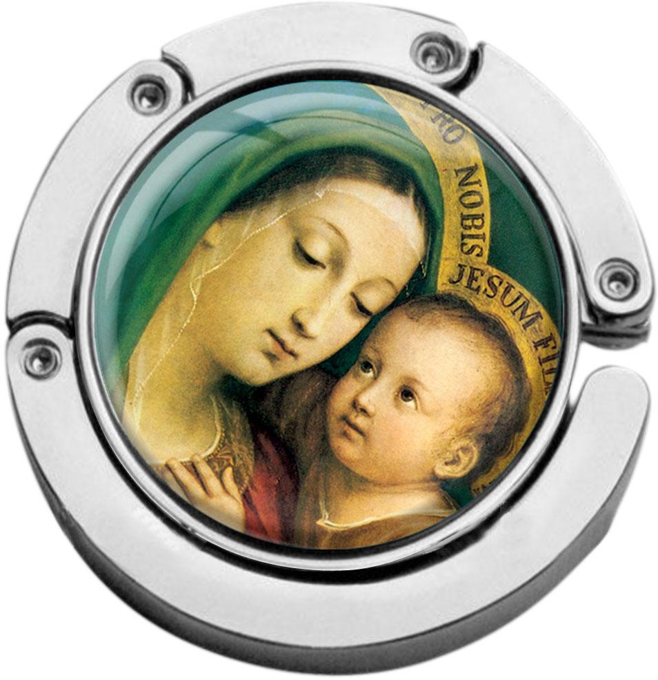 """metALUm Taschenaufhänger in runder Form """"Jungfrau Maria mit Kind"""""""
