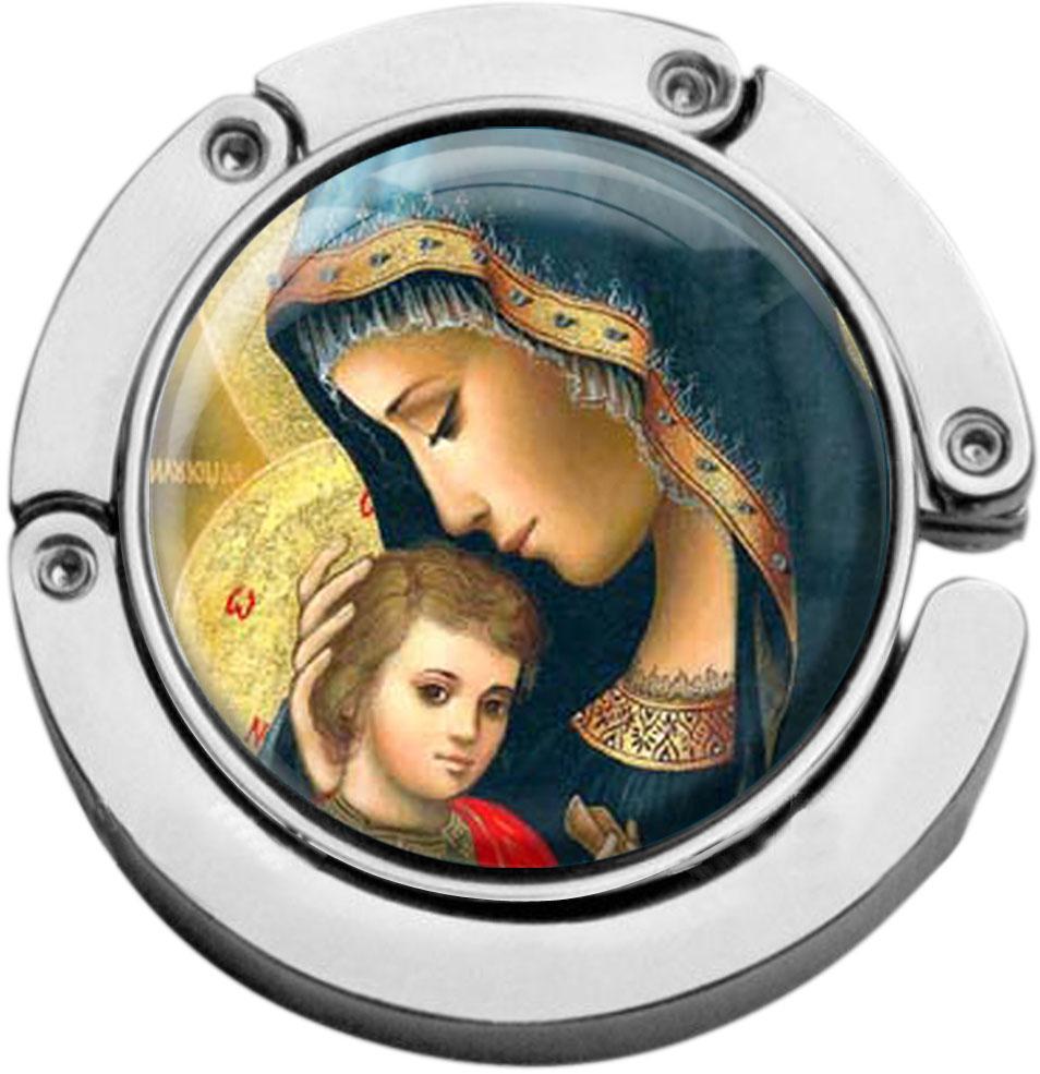 """metALUm Taschenaufhänger in runder Form """"Maria mit Kind"""""""
