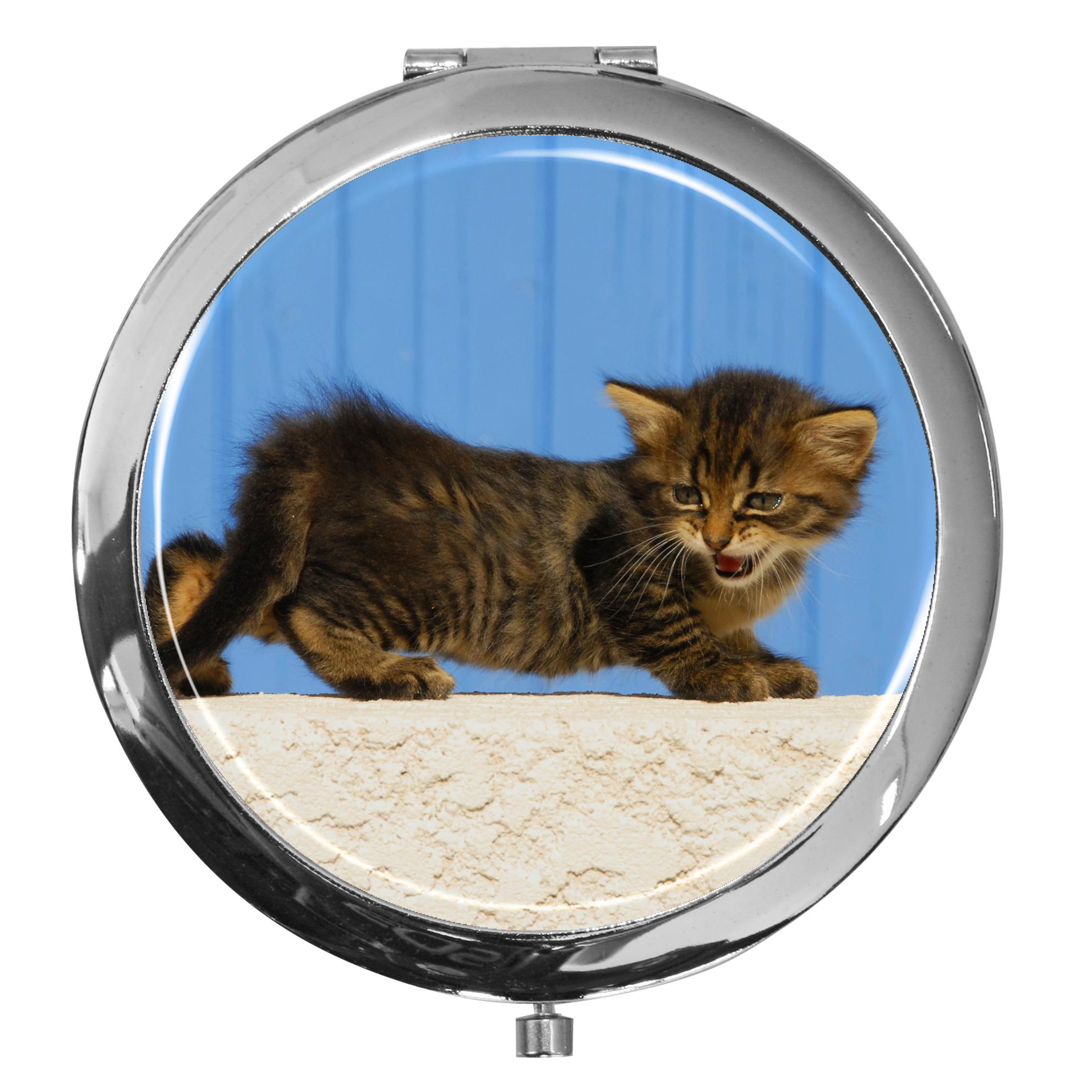 "metALUm - Extragroße Pillendose in runder Form ""Katze"""