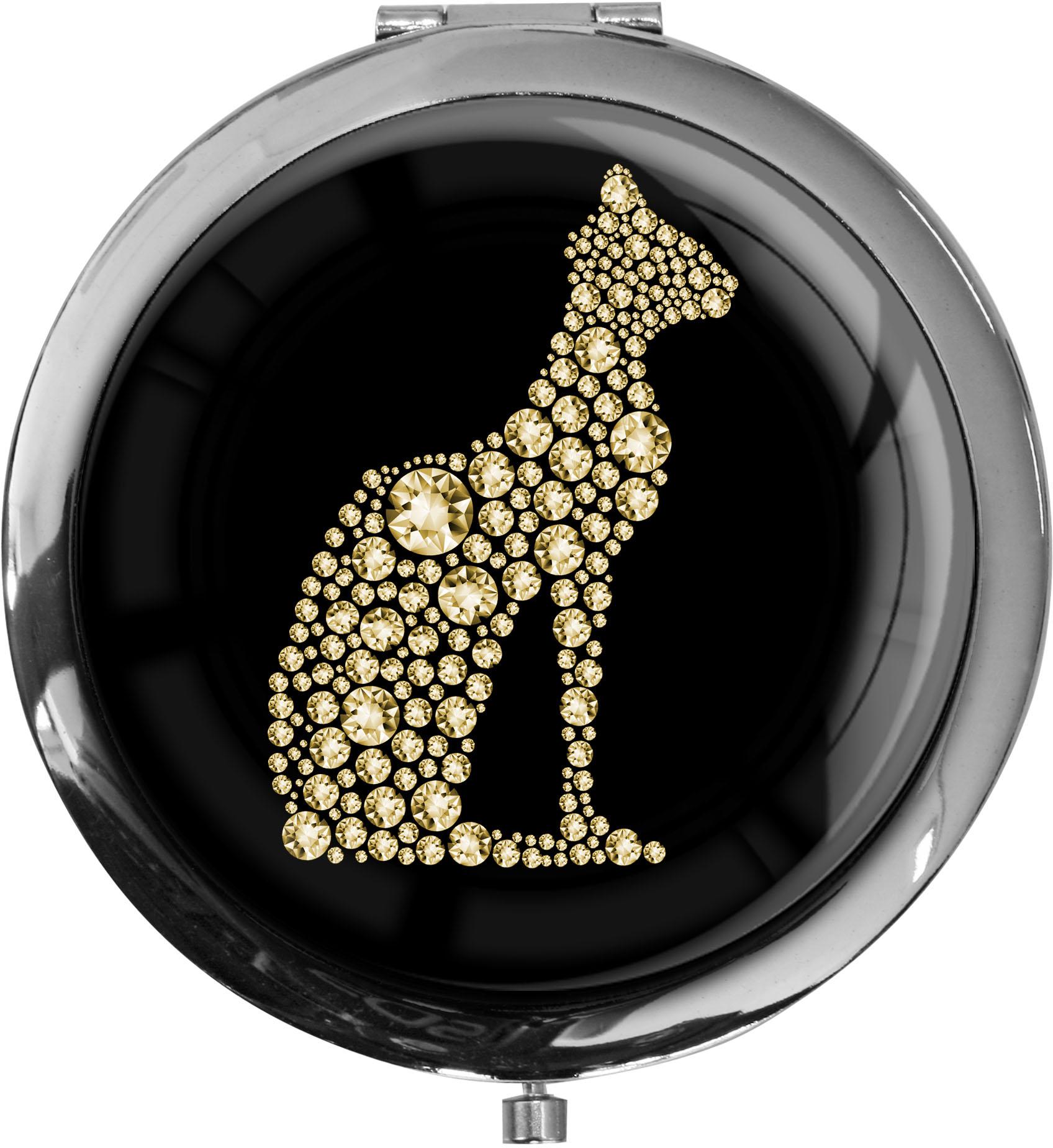 "metALUm - Extragroße Pillendose in runder Form ""Katze in Gold"""