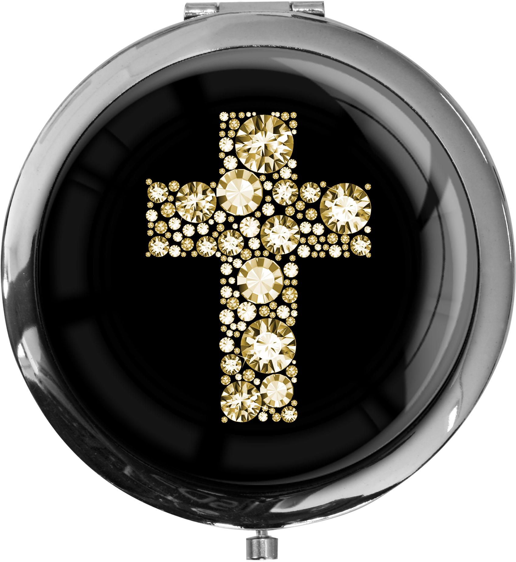 """metALUm - Extragroße Pillendose in runder Form """"Kreuz in Gold"""""""