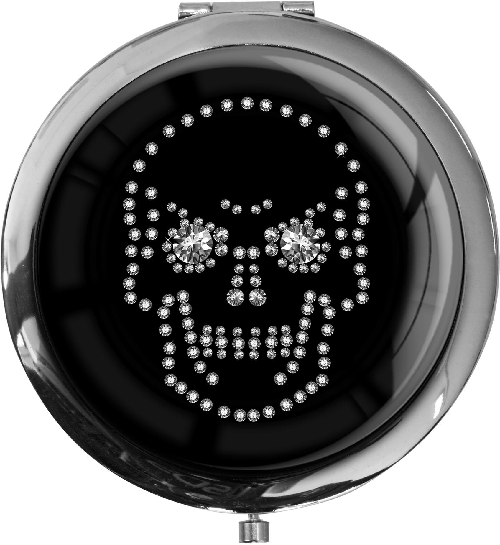 """metALUm - Extragroße Pillendose in runder Form """"Totenkopf in Silber"""""""