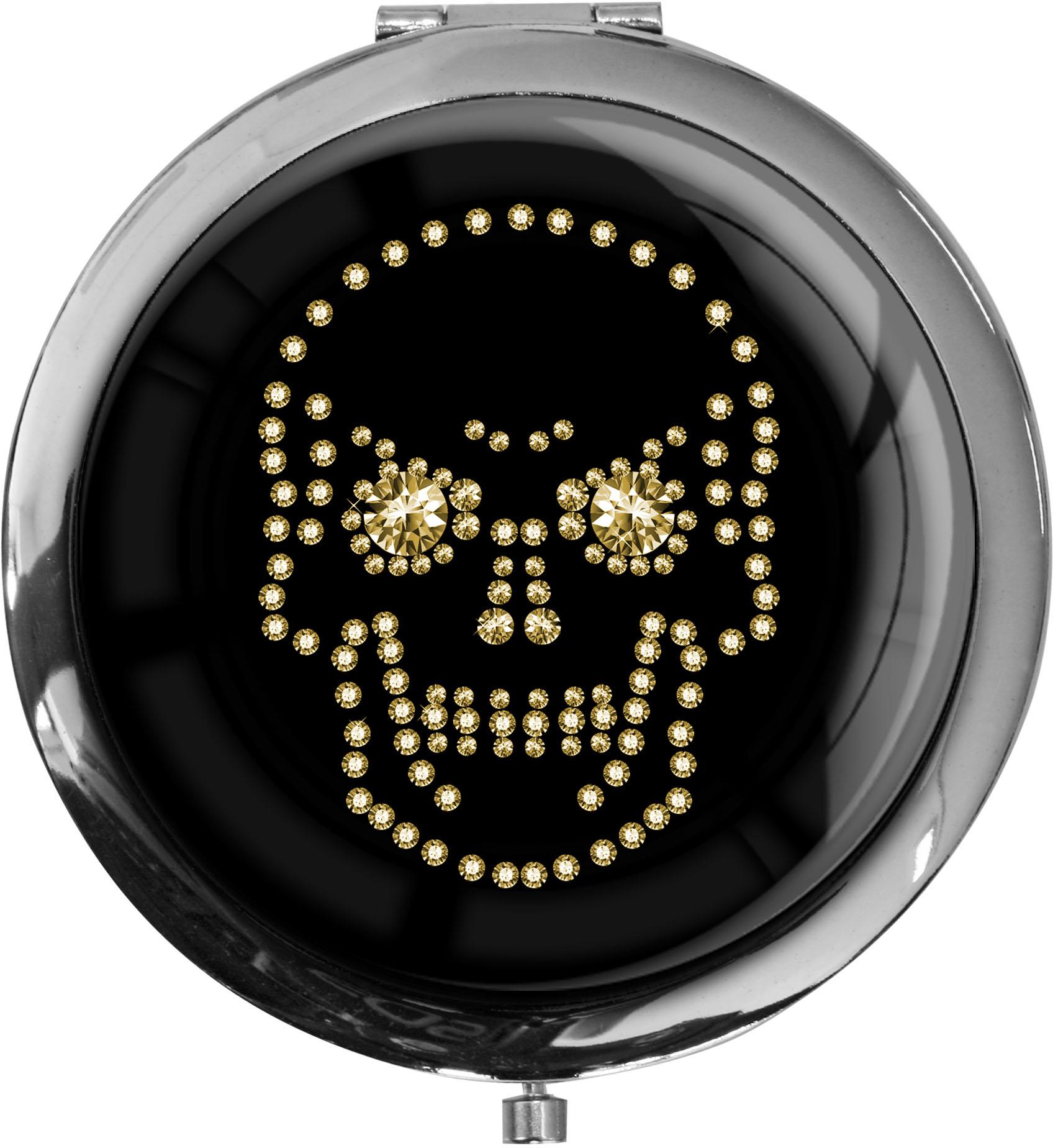"""metALUm - Extragroße Pillendose in runder Form """"Totenkopf in Gold"""""""