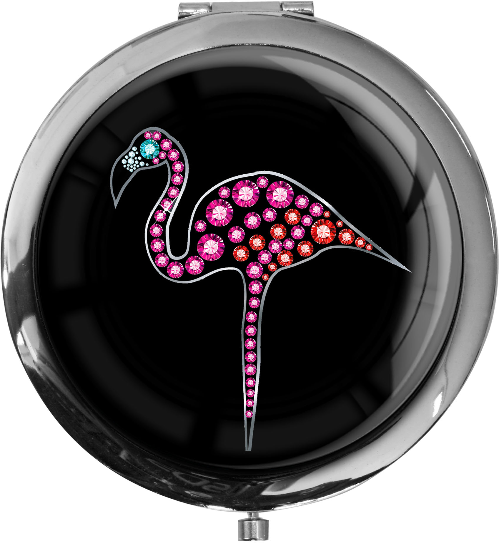 "metALUm - Extragroße Pillendose in runder Form ""Flamingo"""