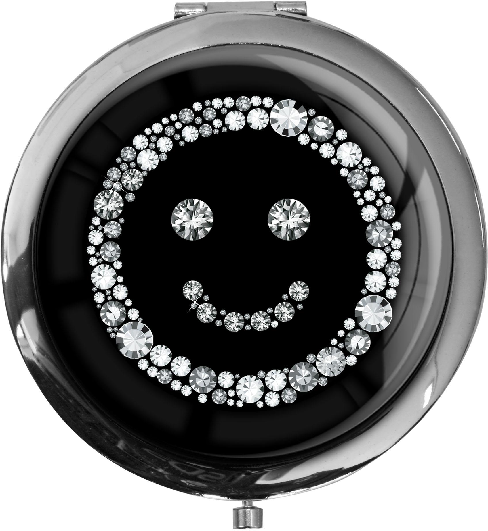 "metALUm - Extragroße Pillendose in runder Form ""Smiley in Silber"""