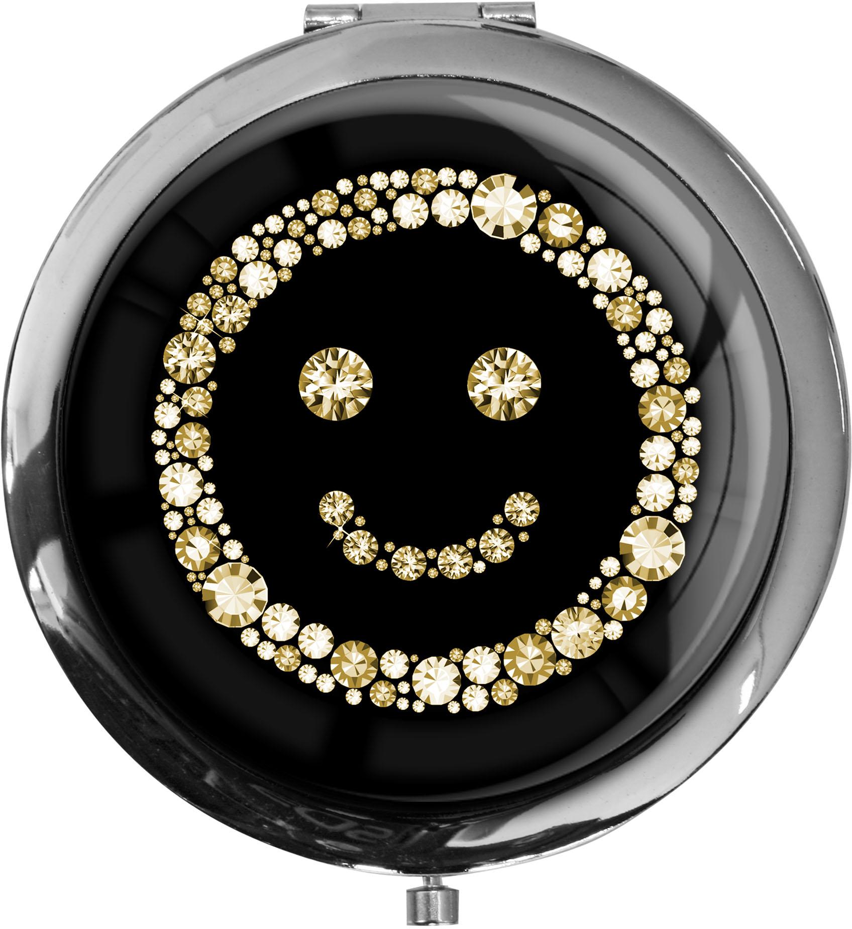 """metALUm - Extragroße Pillendose in runder Form """"Smiley in Gold"""""""