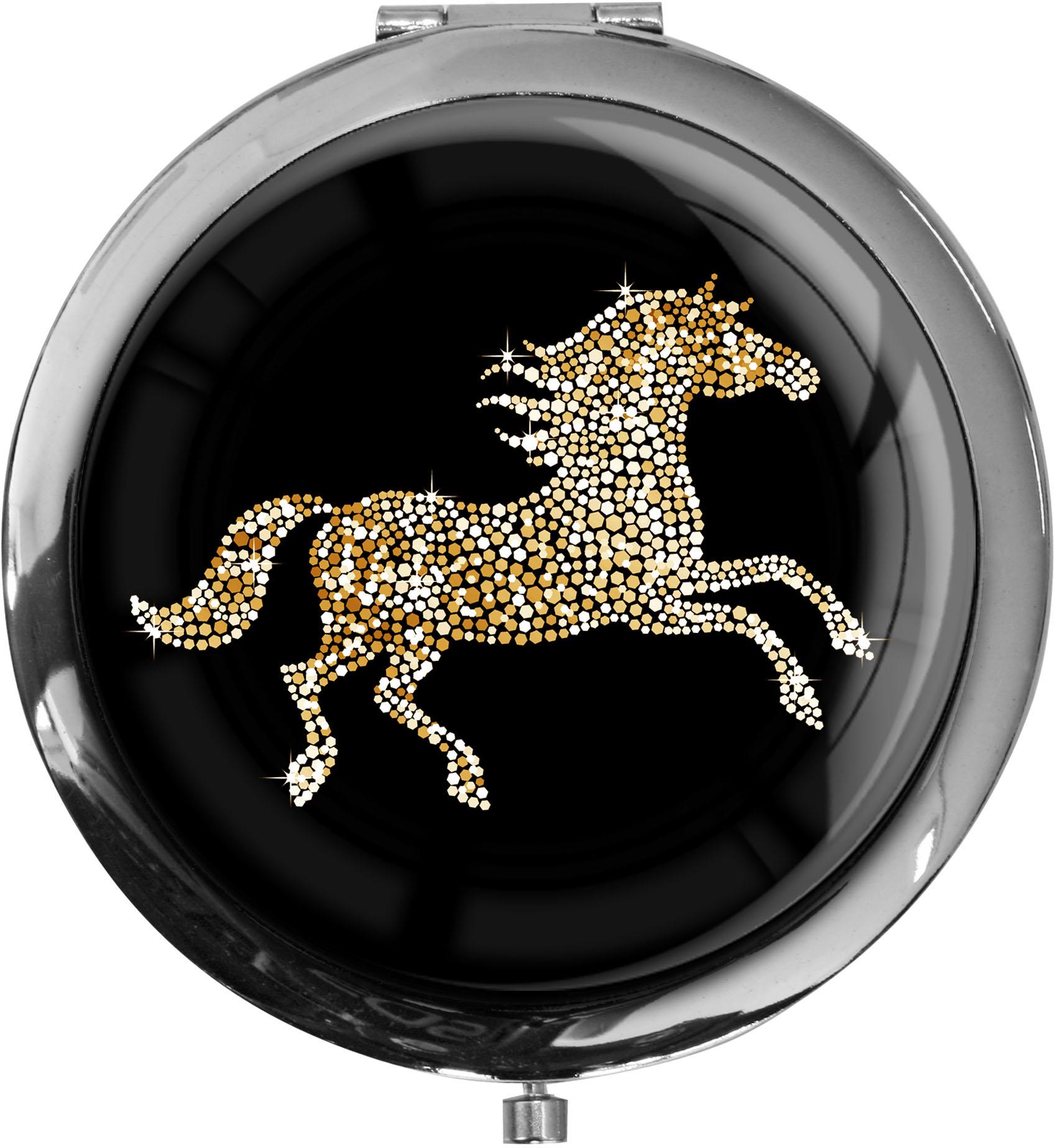 """metALUm - Extragroße Pillendose in runder Form """"Pferd in Gold"""""""