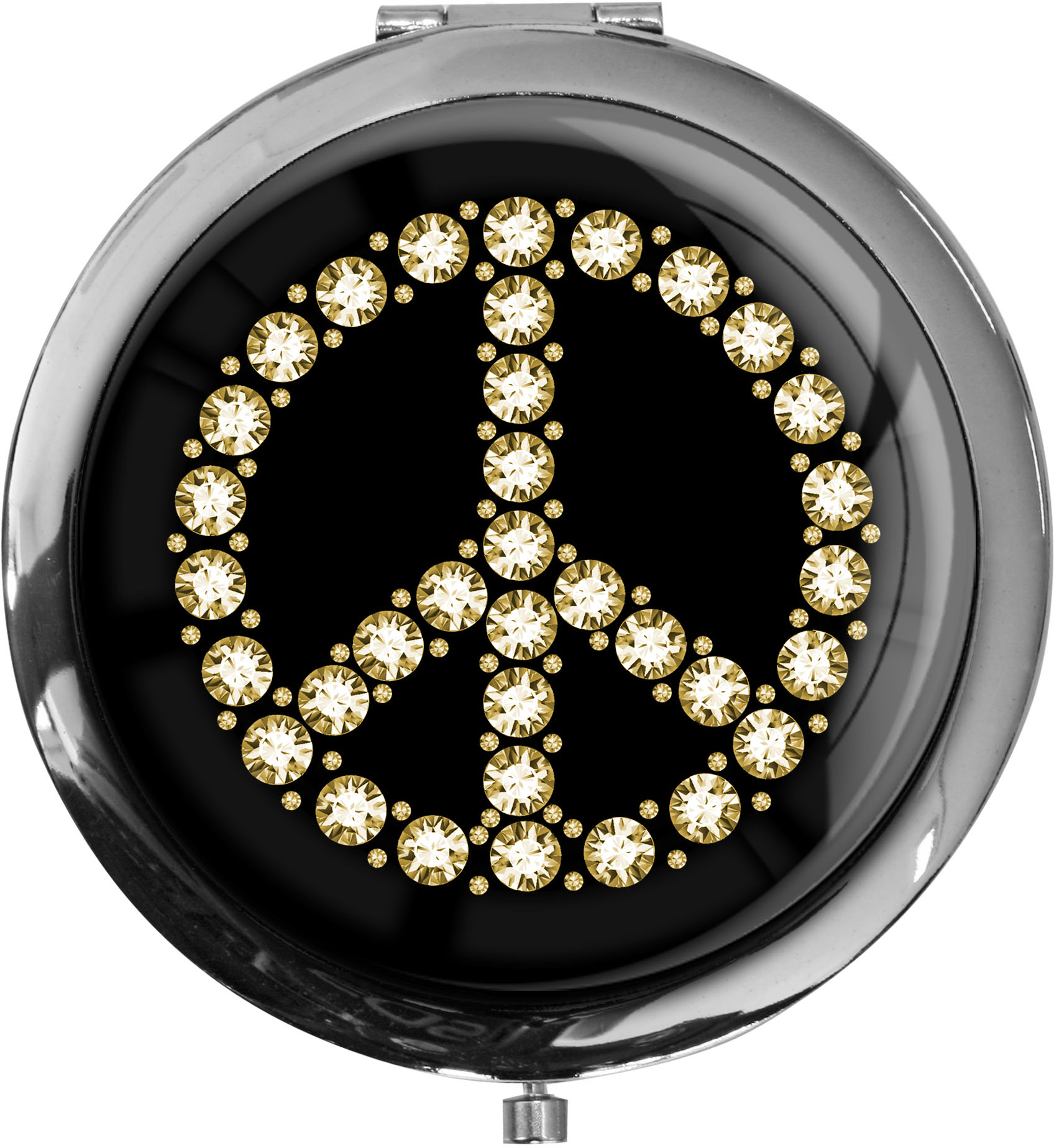 "metALUm - Extragroße Pillendose in runder Form ""Peace Symbol"""