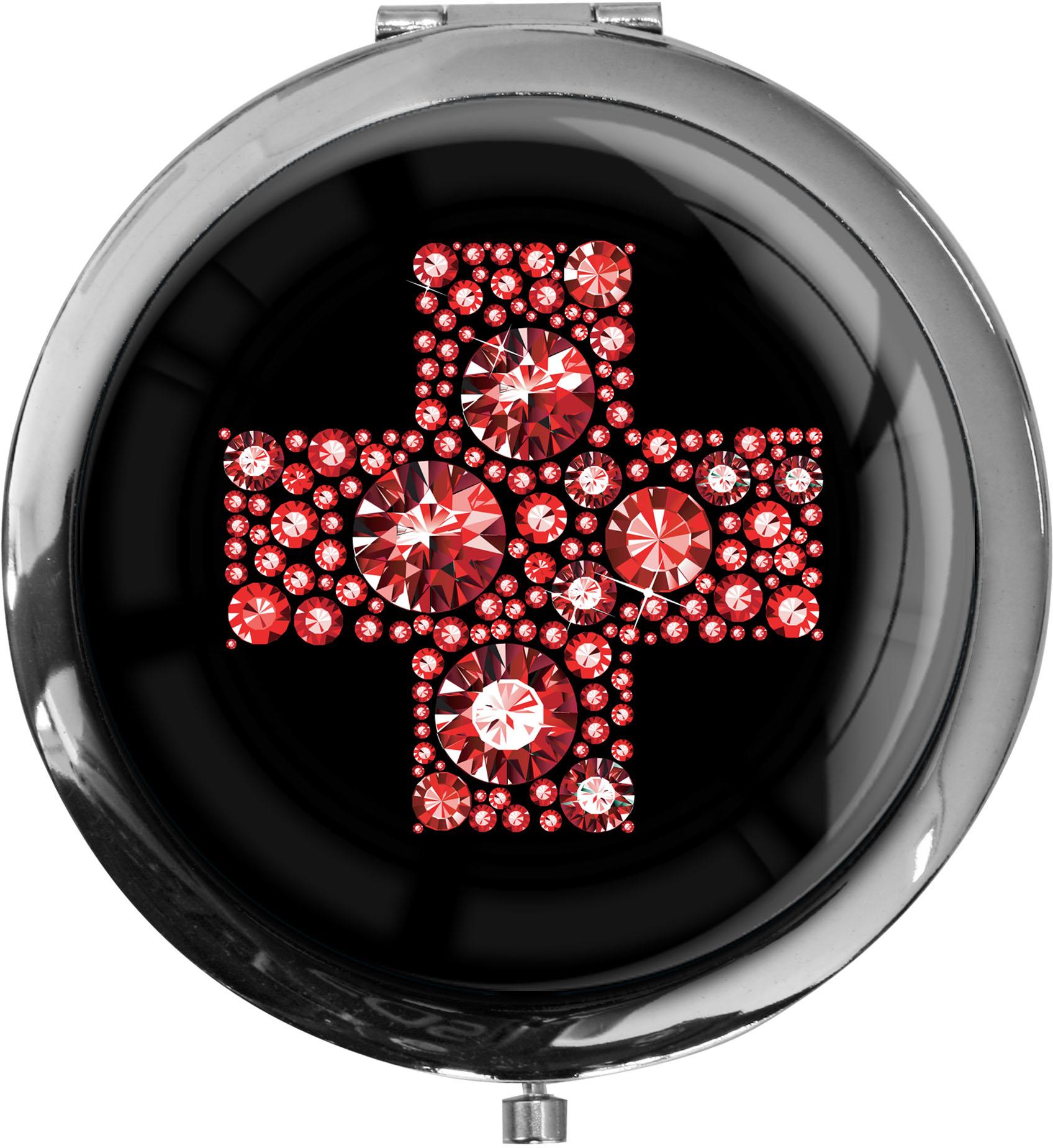 "metALUm - Extragroße Pillendose in runder Form ""Rotes Kreuz"""