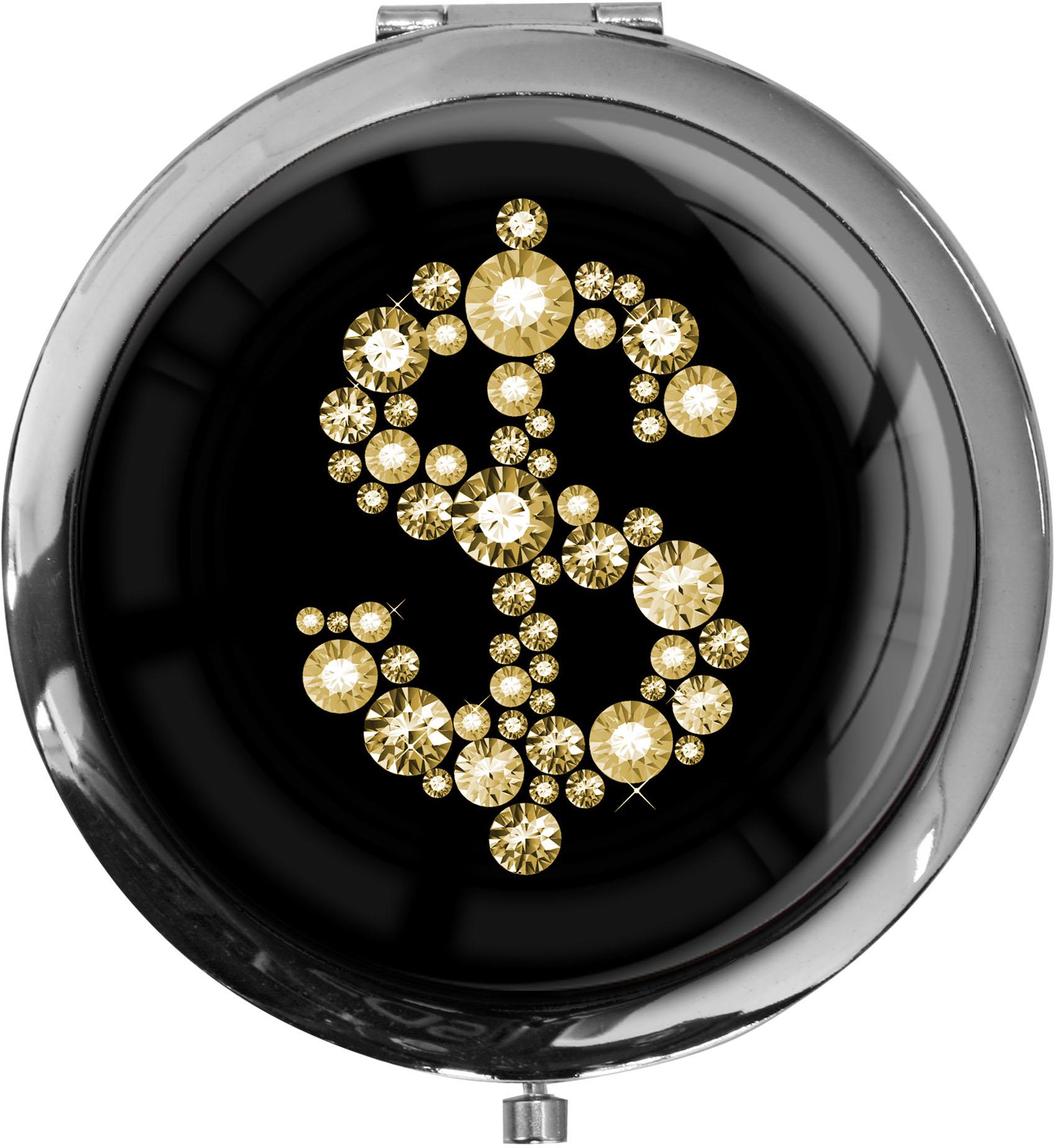 """metALUm - Extragroße Pillendose in runder Form """"Dollarzeichen in Gold"""""""