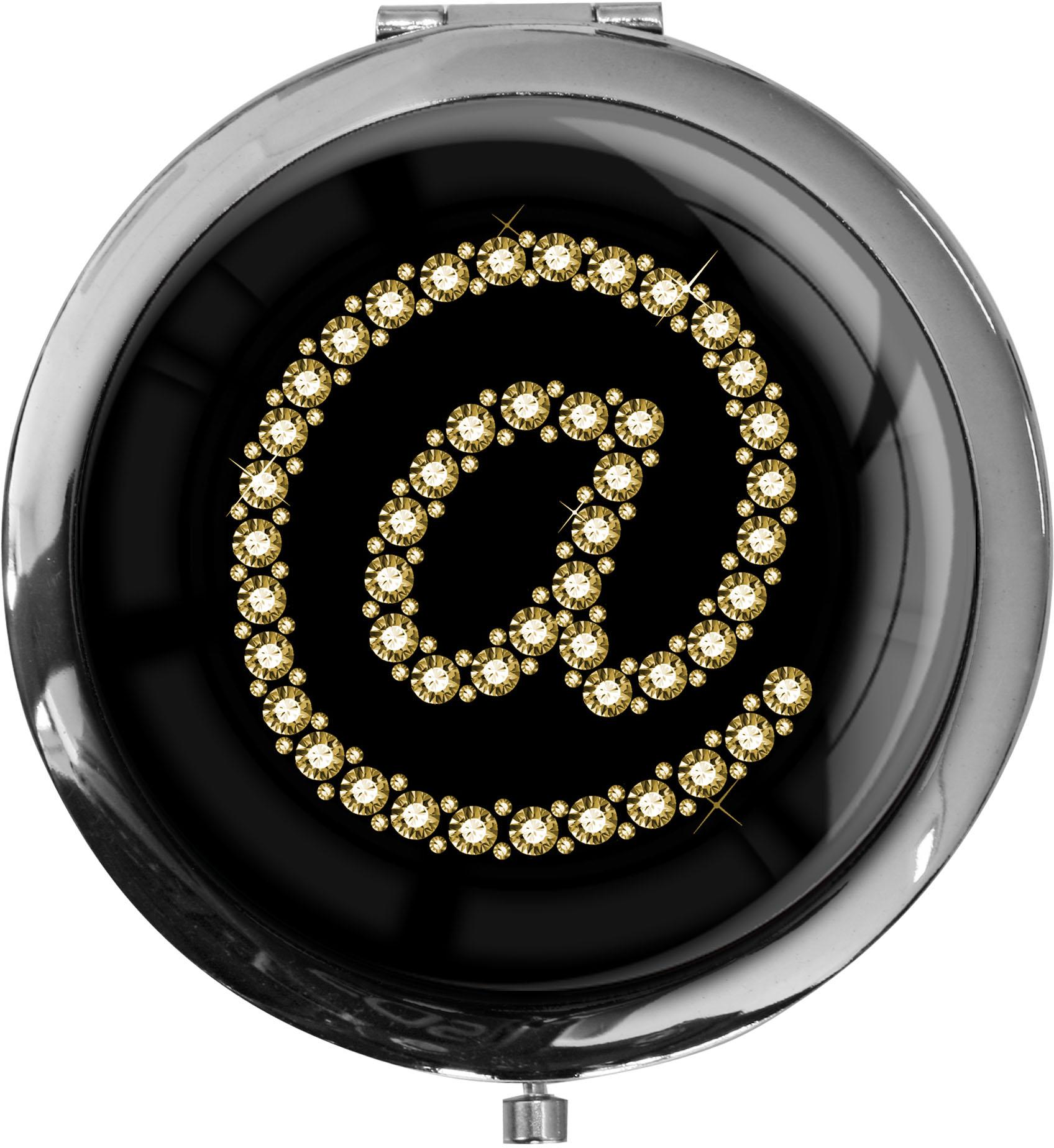 "metALUm - Extragroße Pillendose in runder Form ""At Symbol in Gold"""