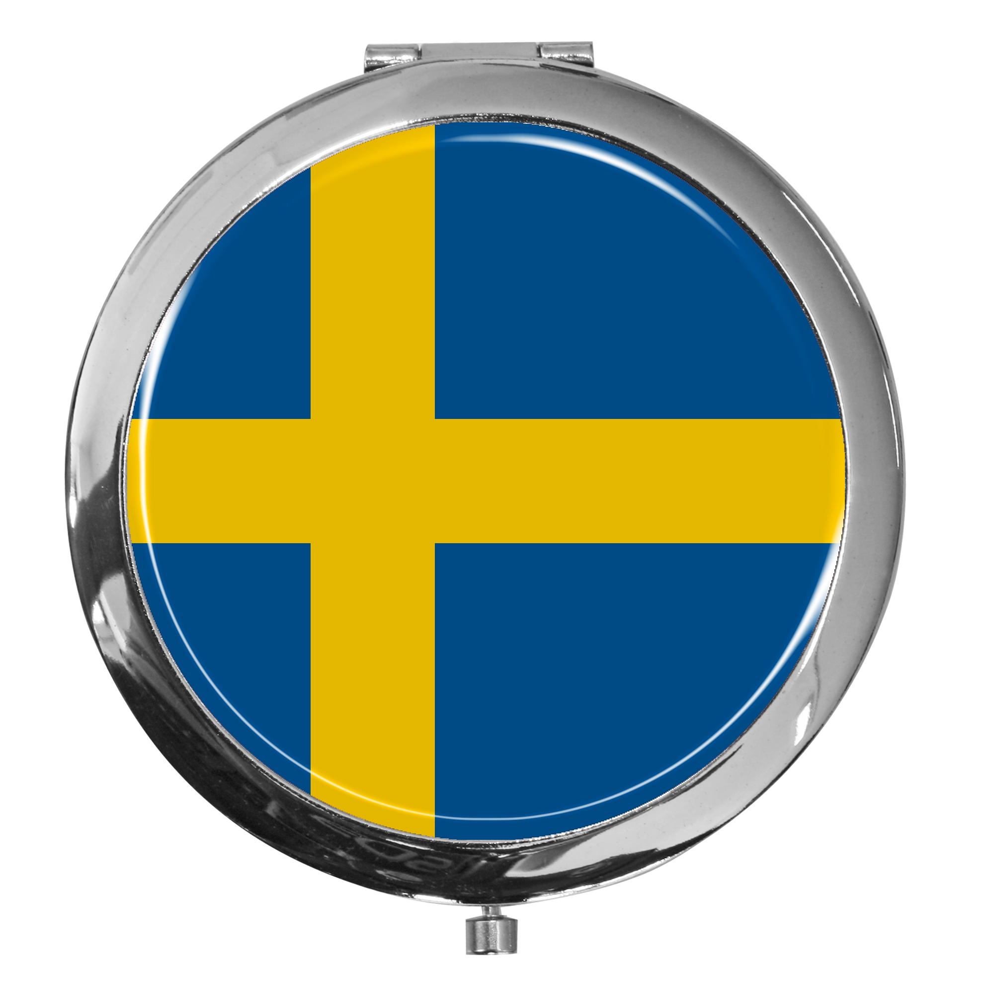 """metALUm - Extragroße Pillendose in runder Form """"Flagge Schweden"""""""