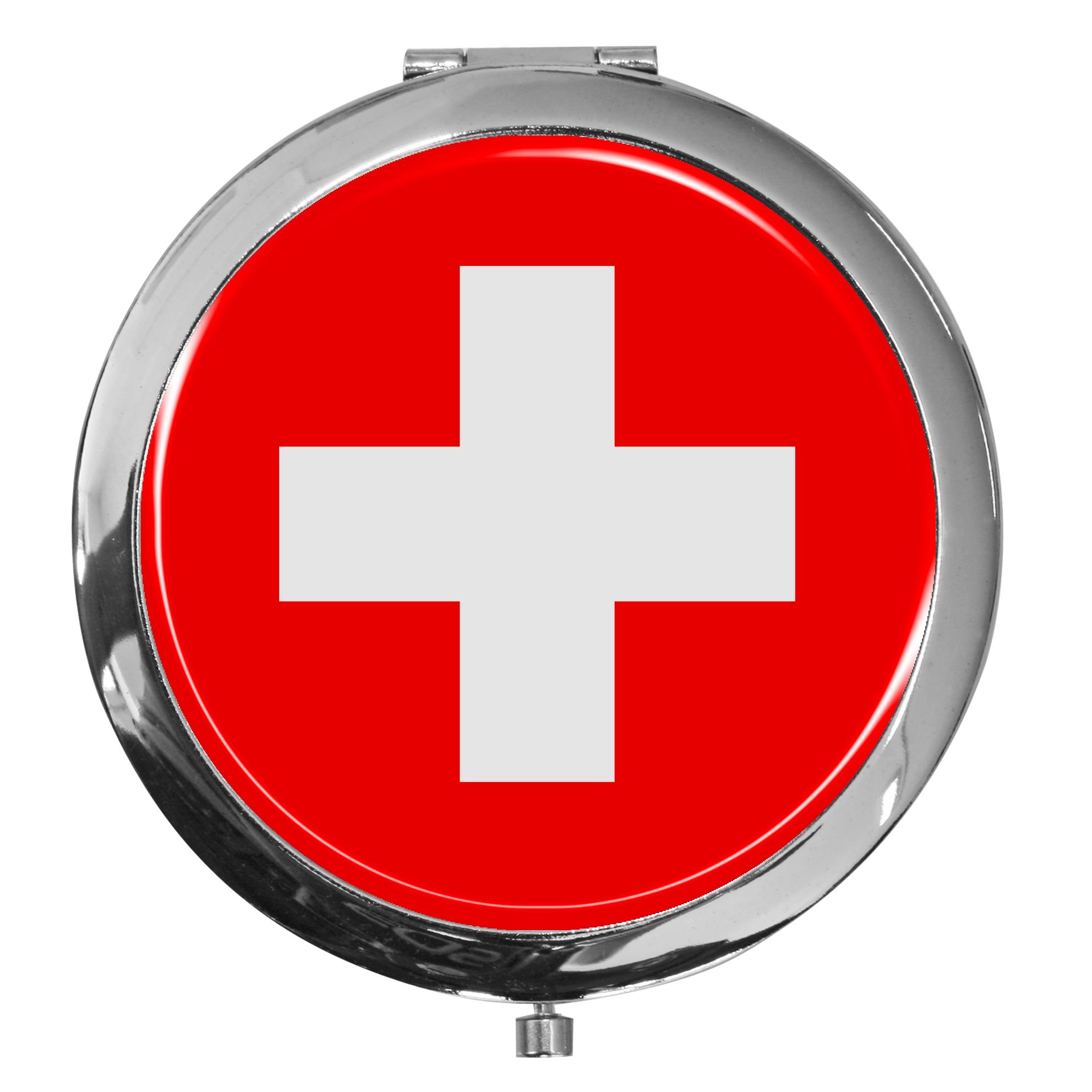"""metALUm - Extragroße Pillendose in runder Form """"Flagge Schweiz"""""""