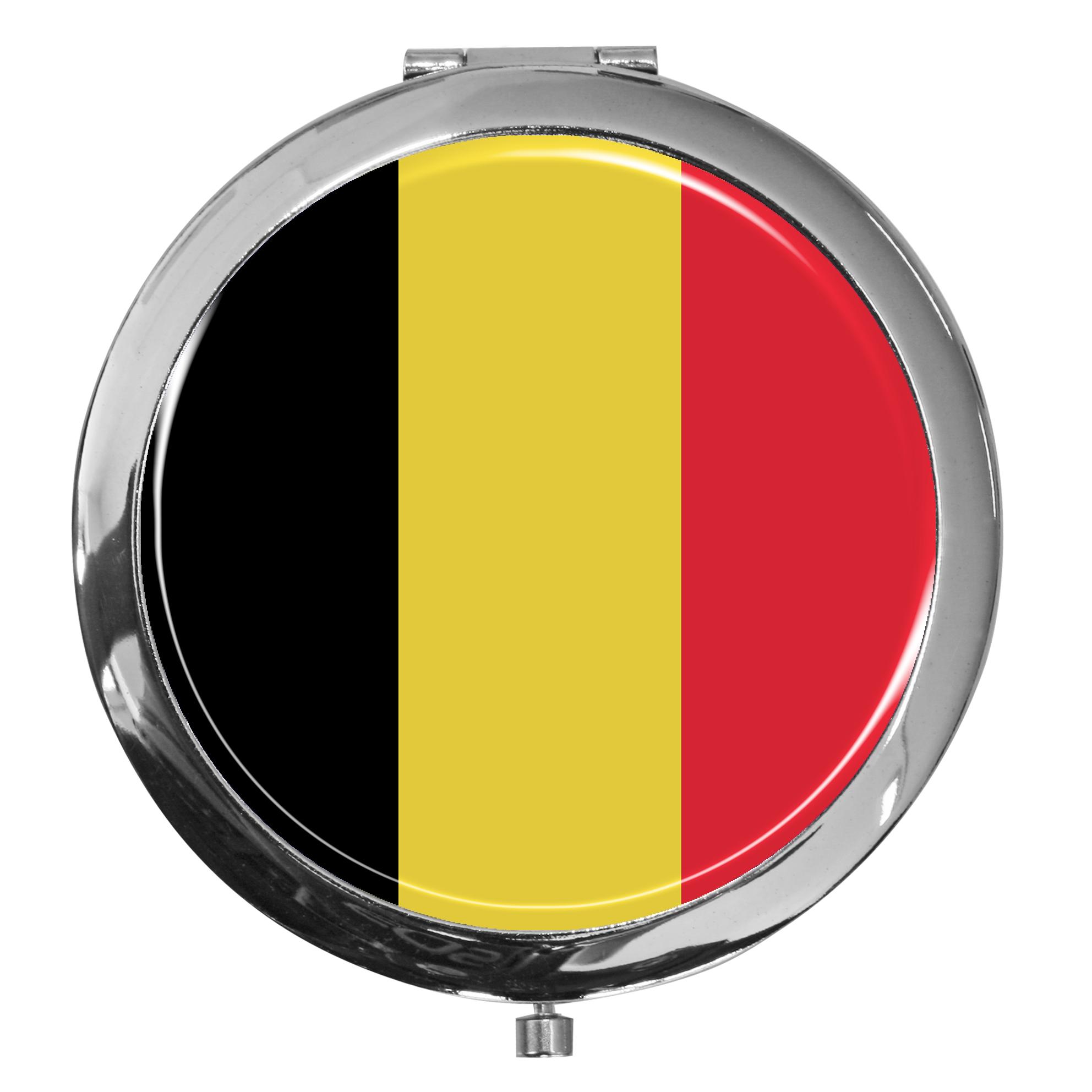 "metALUm - Extragroße Pillendose in runder Form ""Flagge Belgien"""