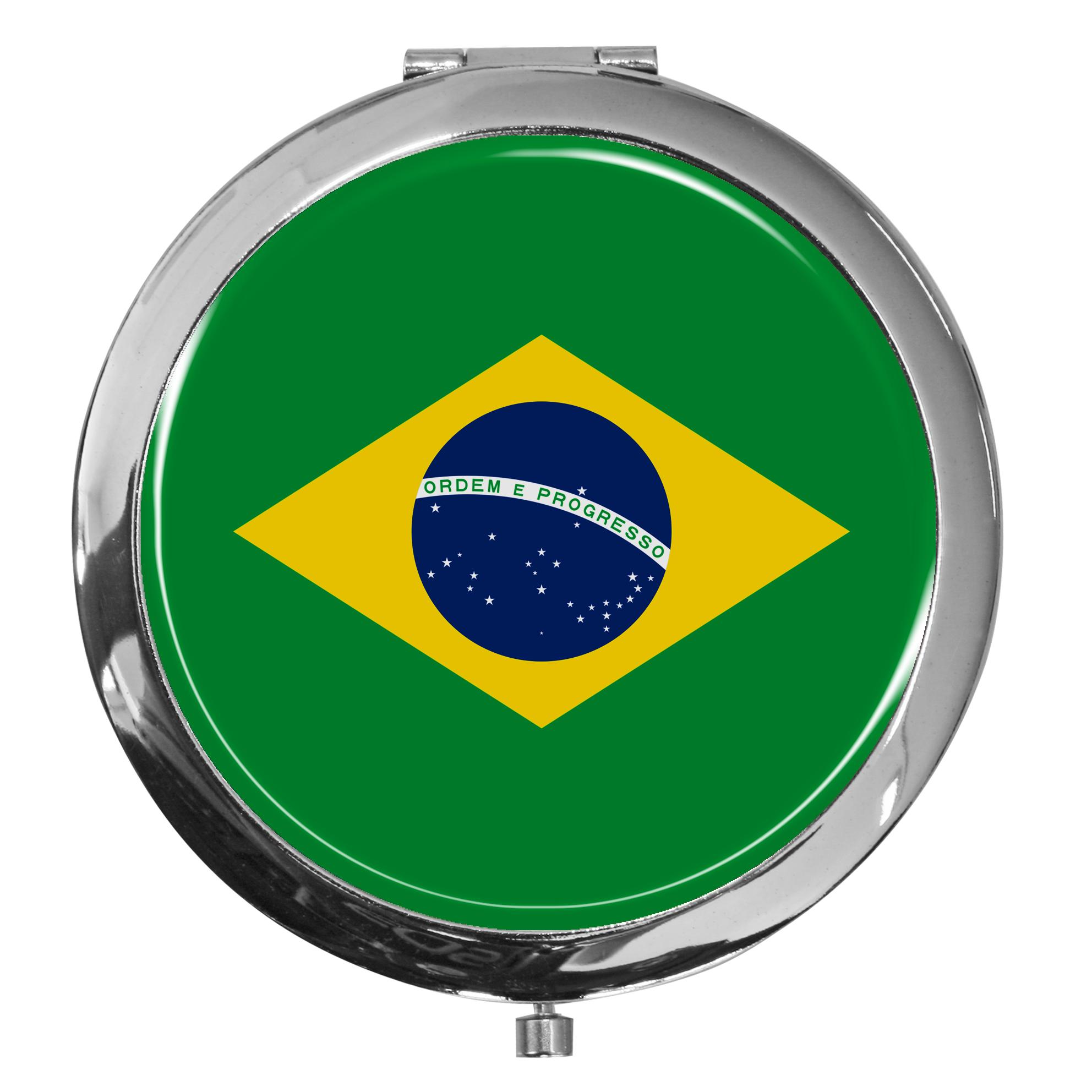 "metALUm - Extragroße Pillendose in runder Form ""Flagge Brasilien"""