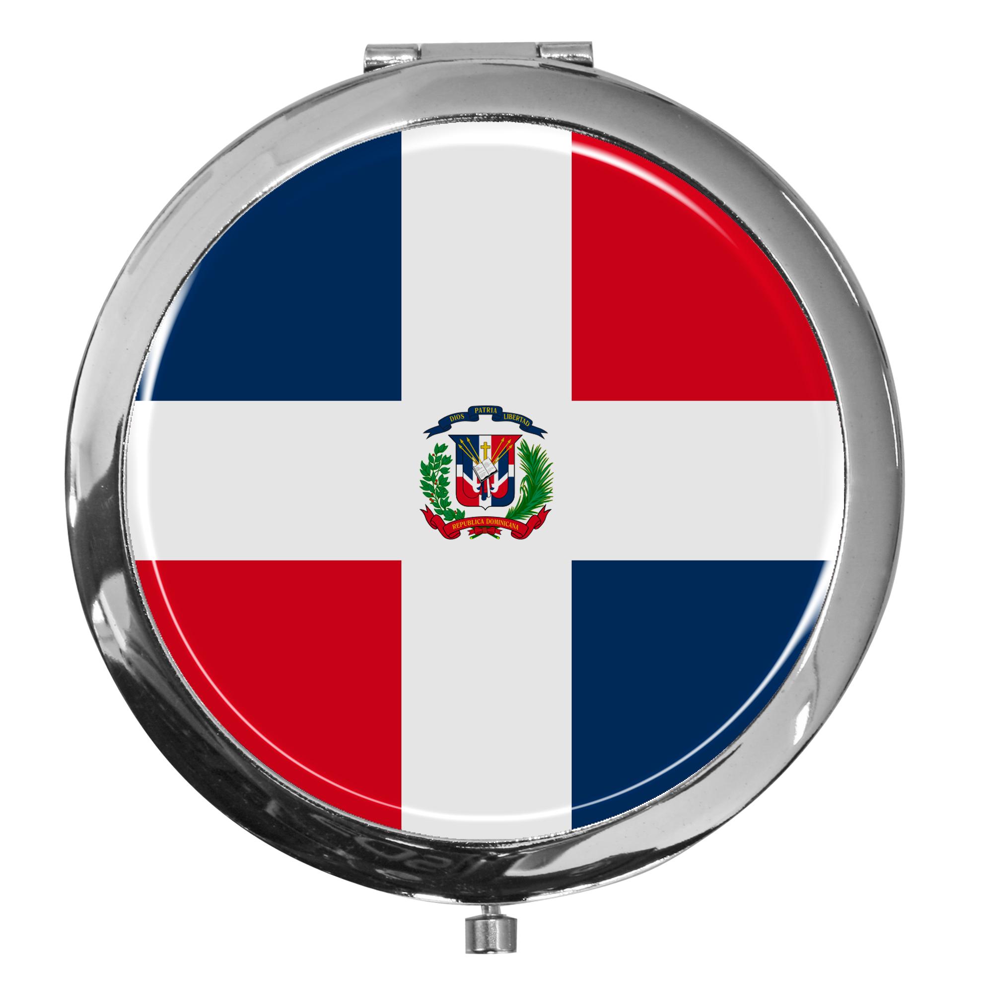 """metALUm - Extragroße Pillendose in runder Form """"Flagge Dominikanische Republik"""""""