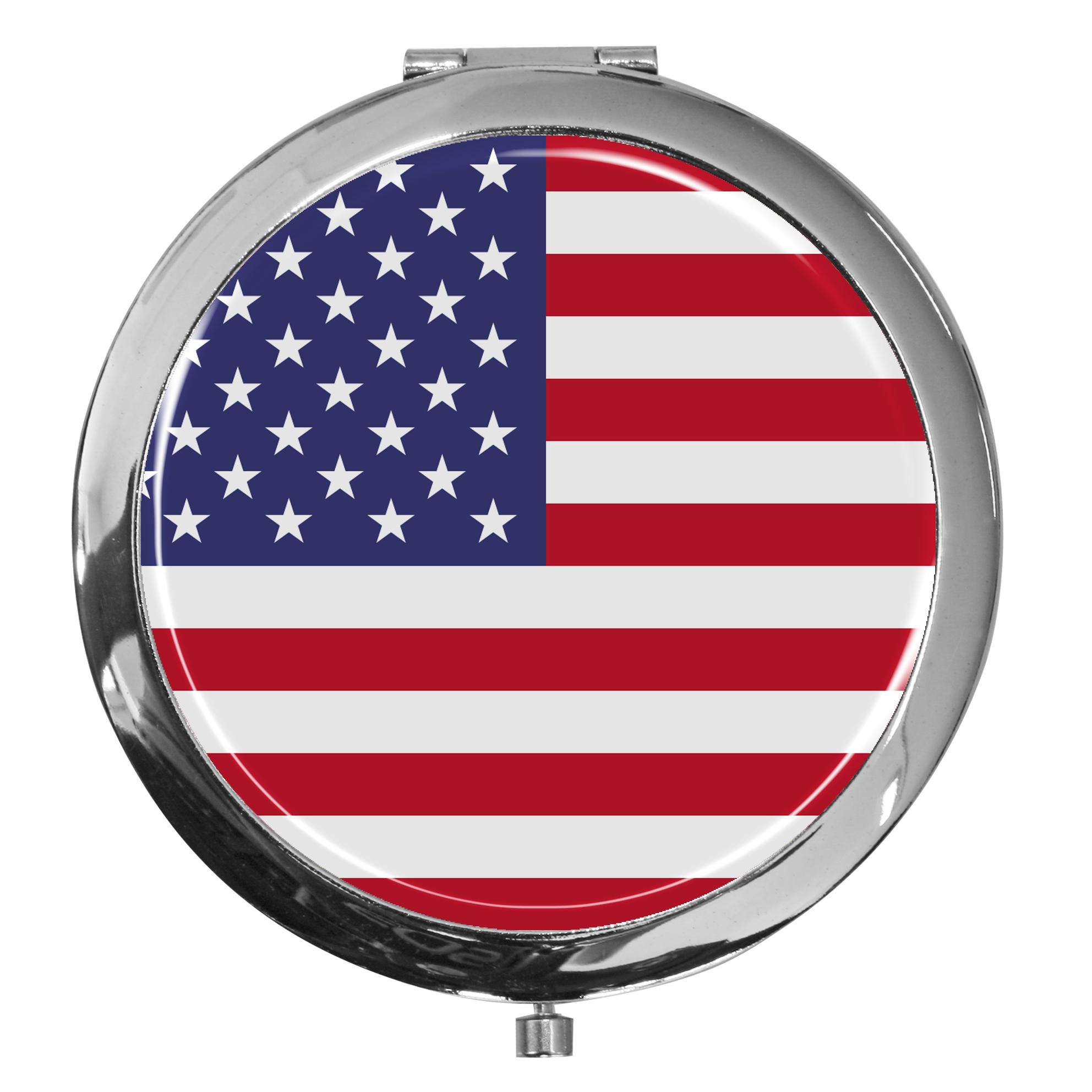 "metALUm - Extragroße Pillendose in runder Form ""Flagge USA"""