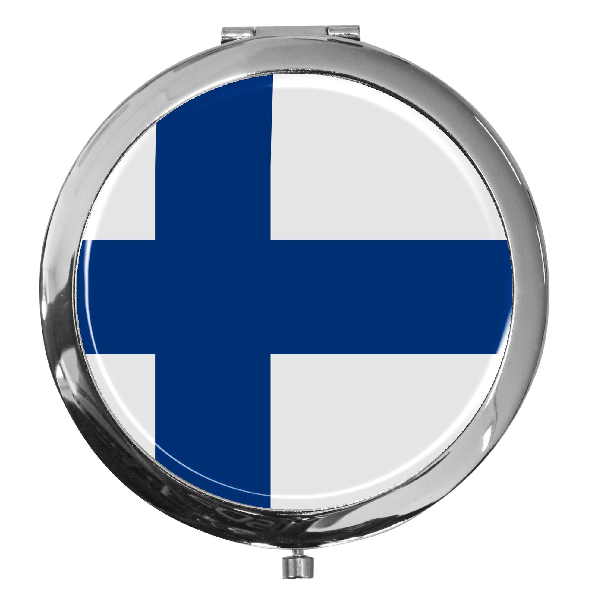 "metALUm - Extragroße Pillendose in runder Form ""Flagge Finnland"""
