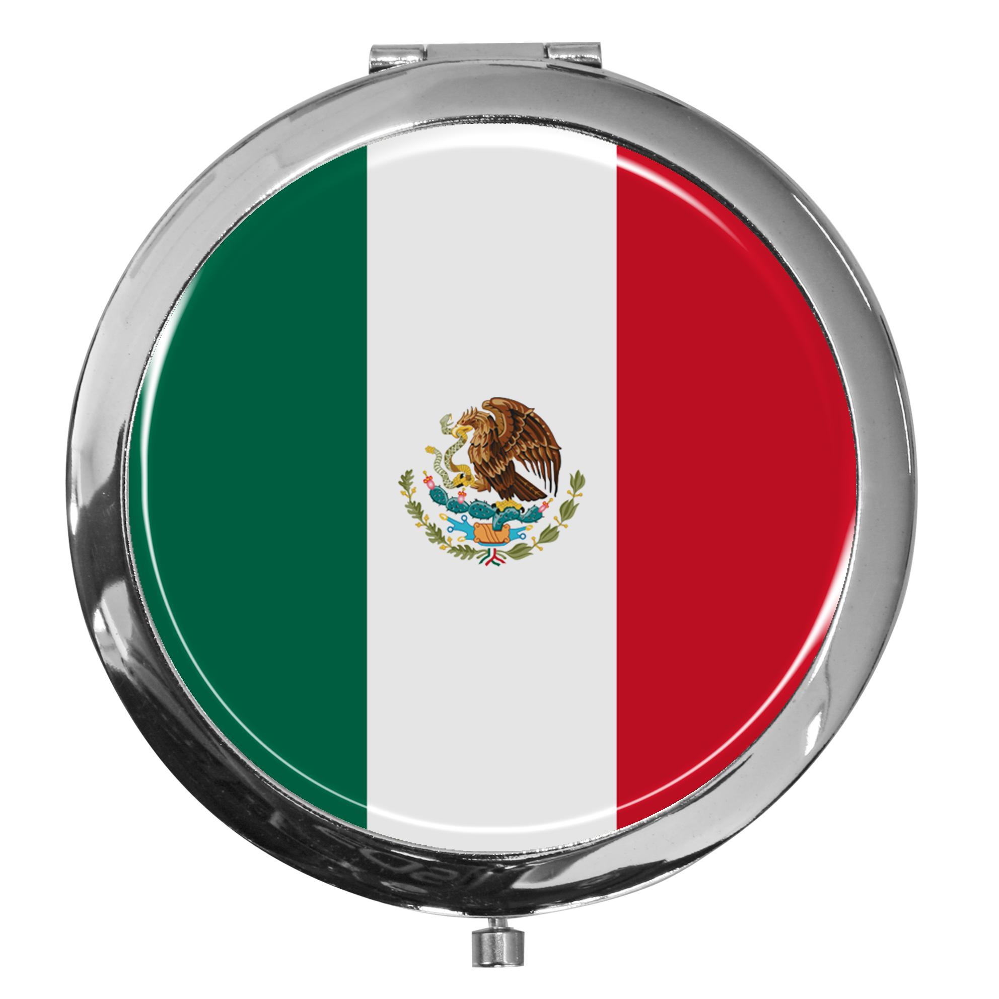 "metALUm - Extragroße Pillendose in runder Form ""Flagge Mexiko"""