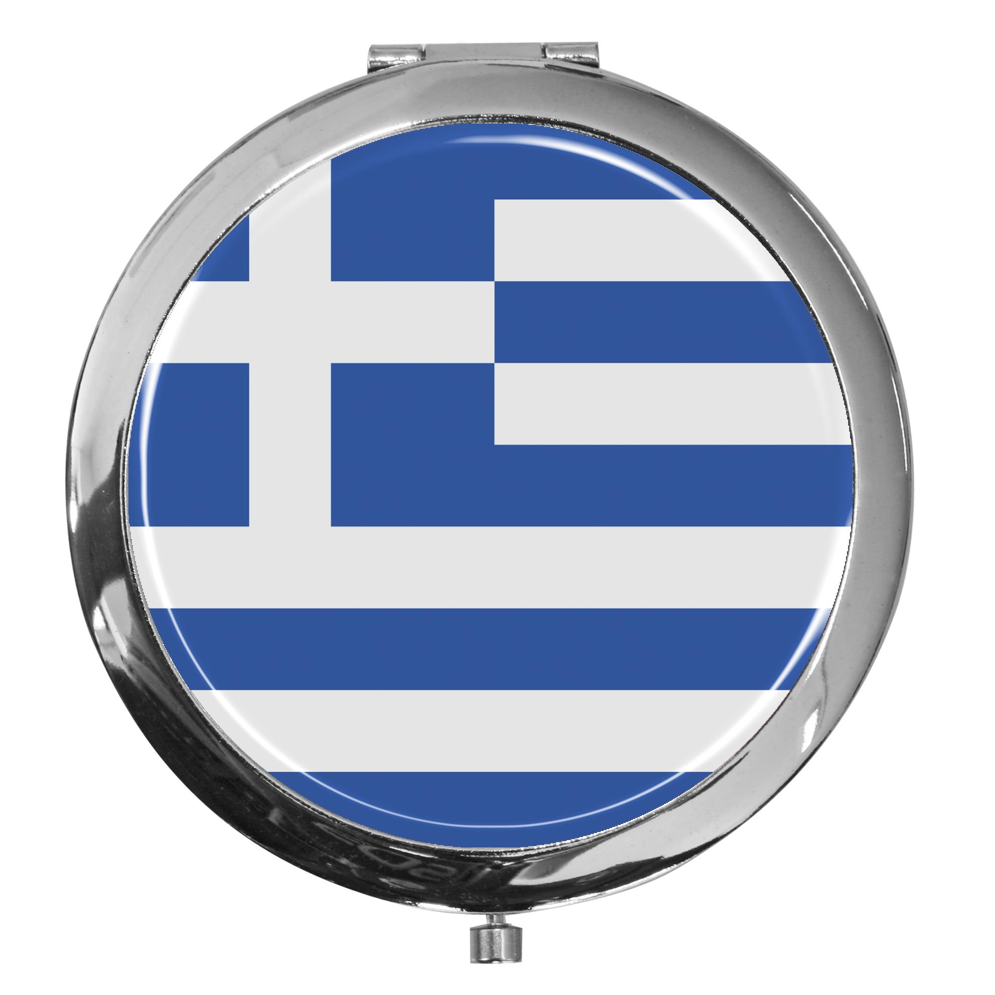 "metALUm - Extragroße Pillendose in runder Form ""Flagge Griechenland"""