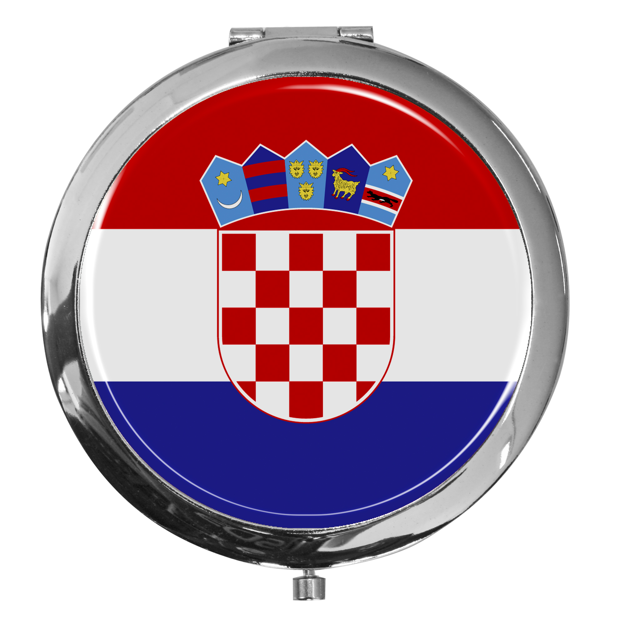 """metALUm - Extragroße Pillendose in runder Form """"Flagge Kroatien"""""""