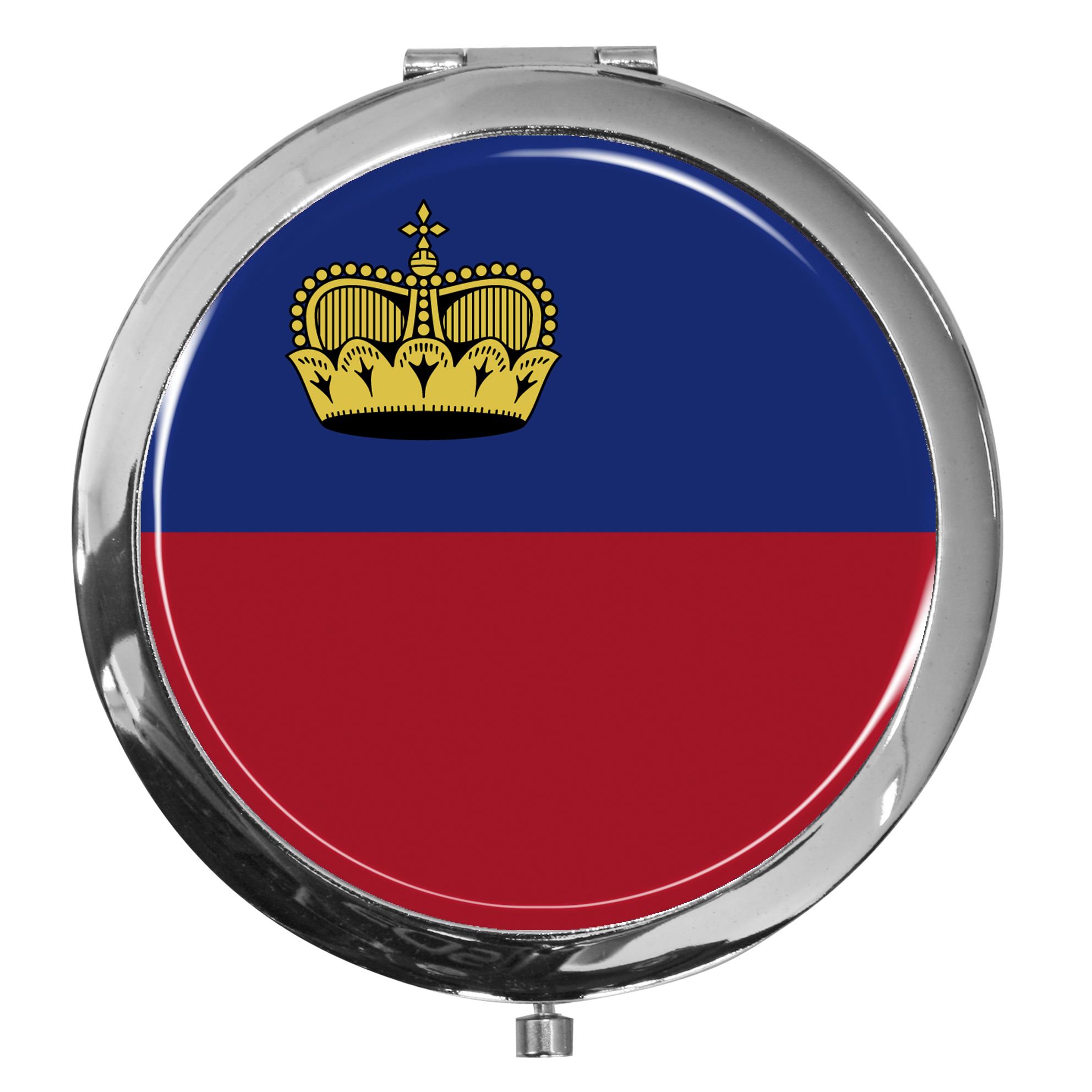 """metALUm - Extragroße Pillendose in runder Form """"Flagge Liechtenstein"""""""