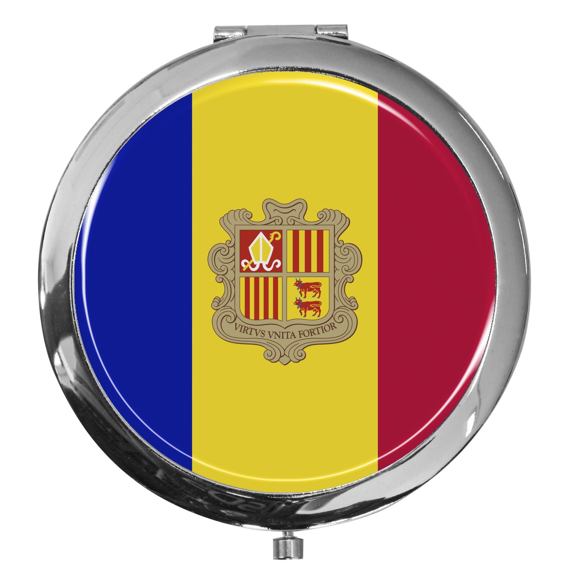 "metALUm - Extragroße Pillendose in runder Form ""Flagge Andorra"""