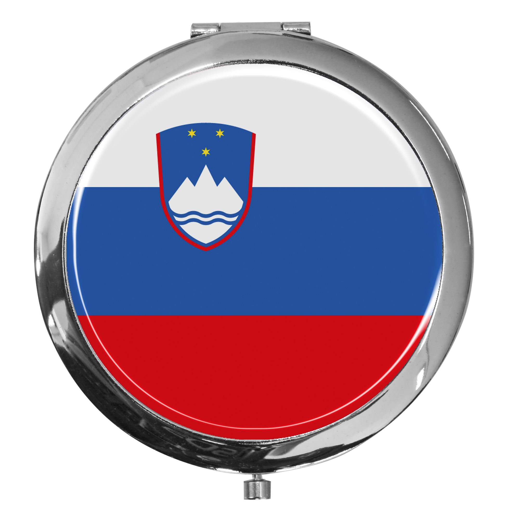 "metALUm - Extragroße Pillendose in runder Form ""Flagge Slowenien"""