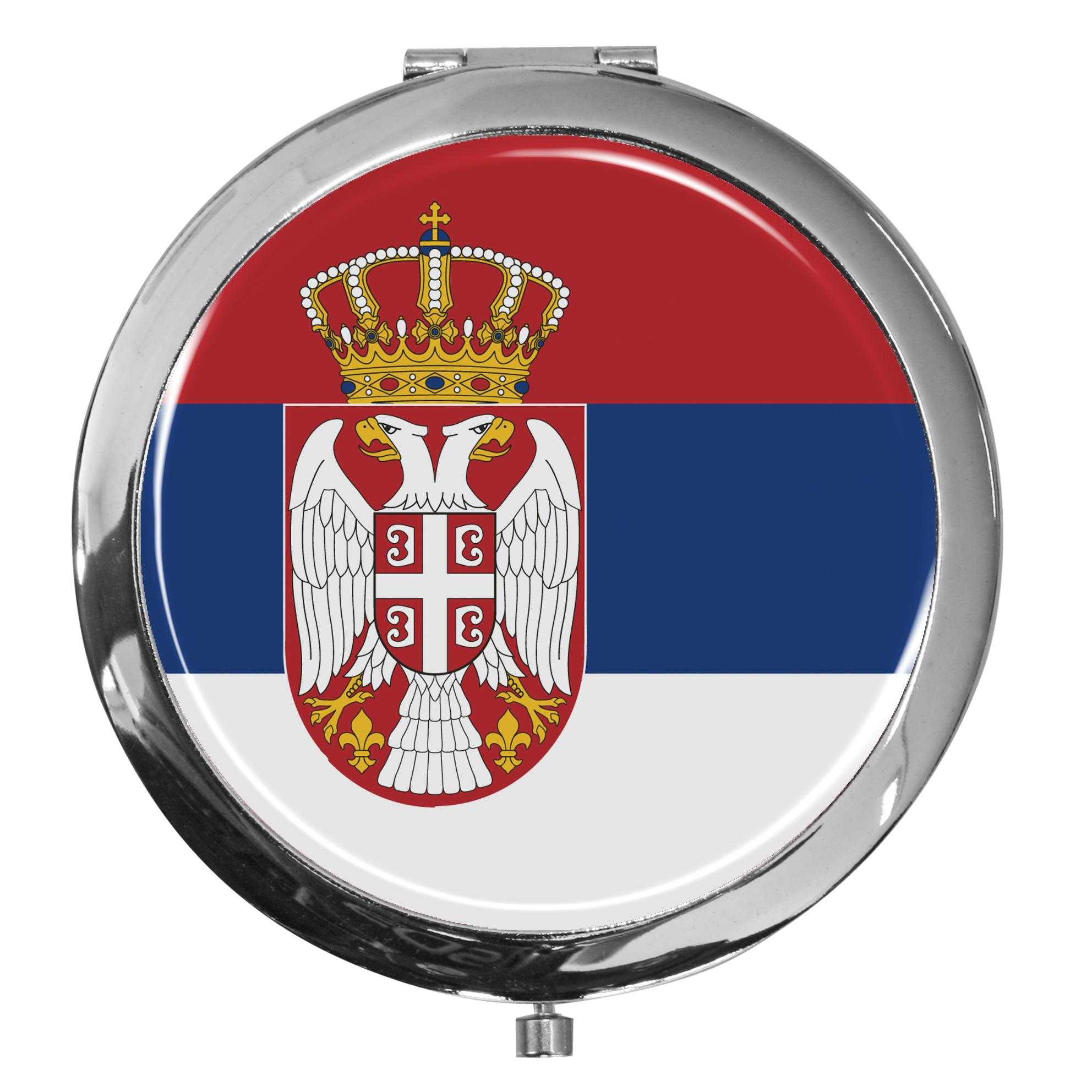 "metALUm - Extragroße Pillendose in runder Form ""Flagge Serbien"""