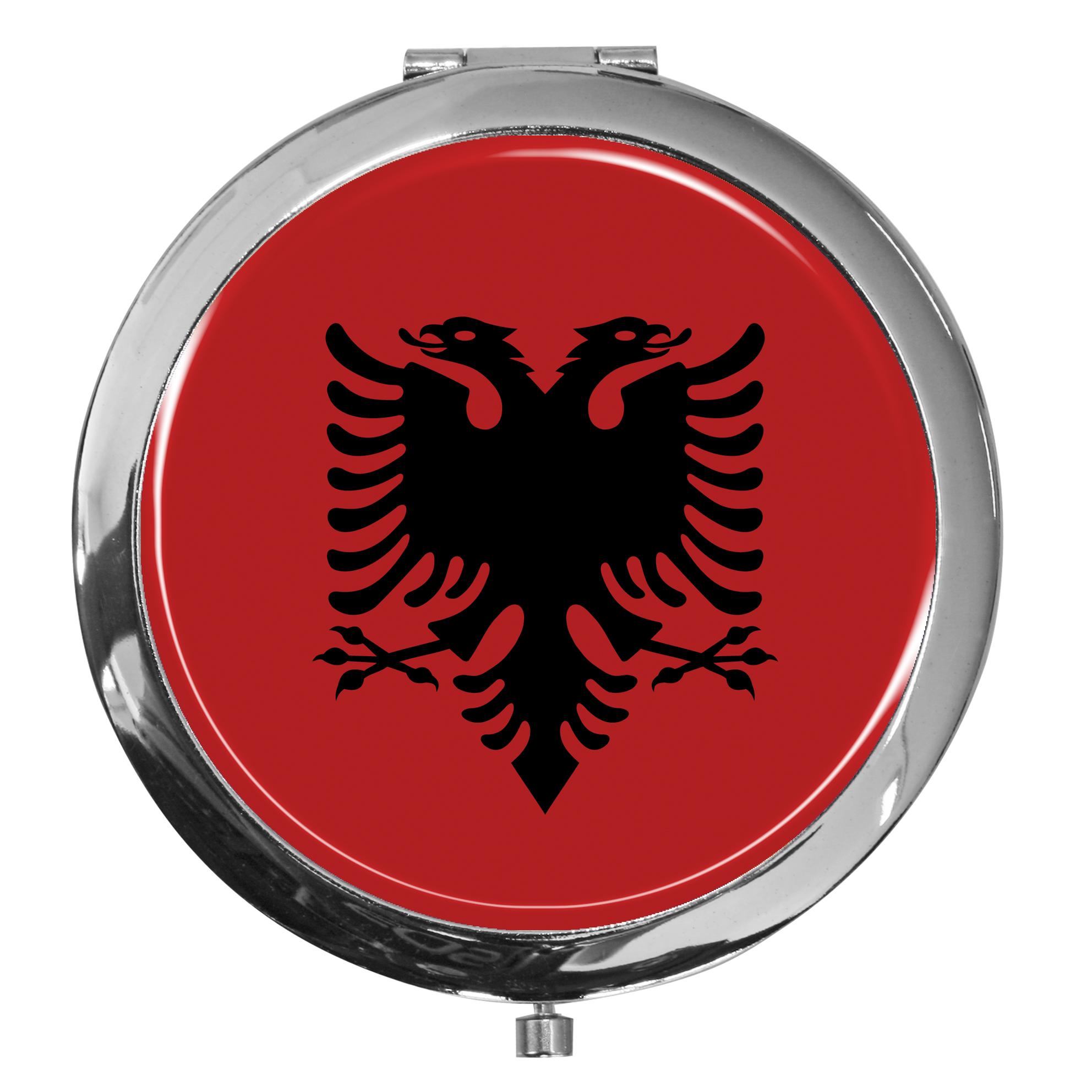 "metALUm - Extragroße Pillendose in runder Form ""Flagge Albanien"""