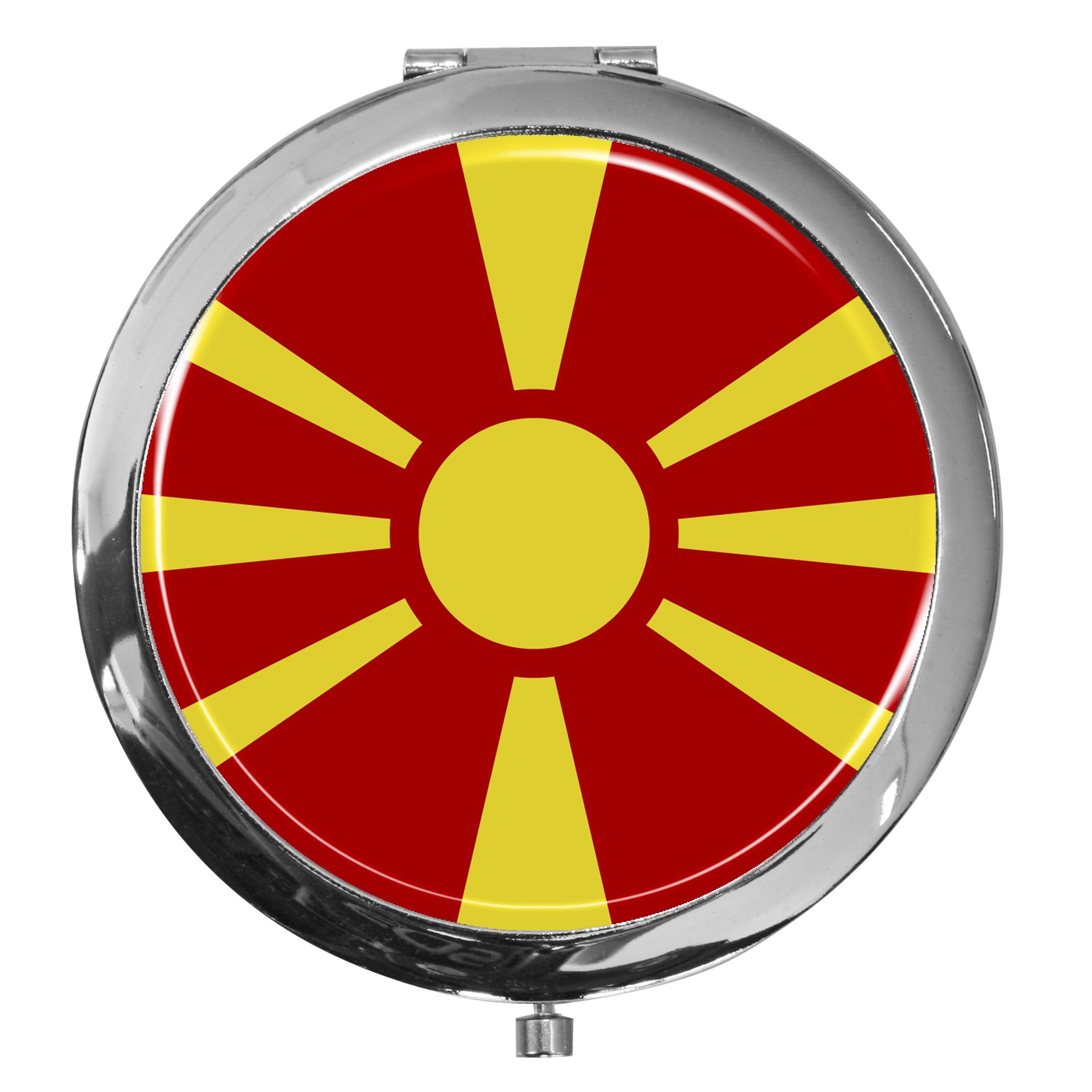 """metALUm - Extragroße Pillendose in runder Form """"Flagge Mazedonien"""""""