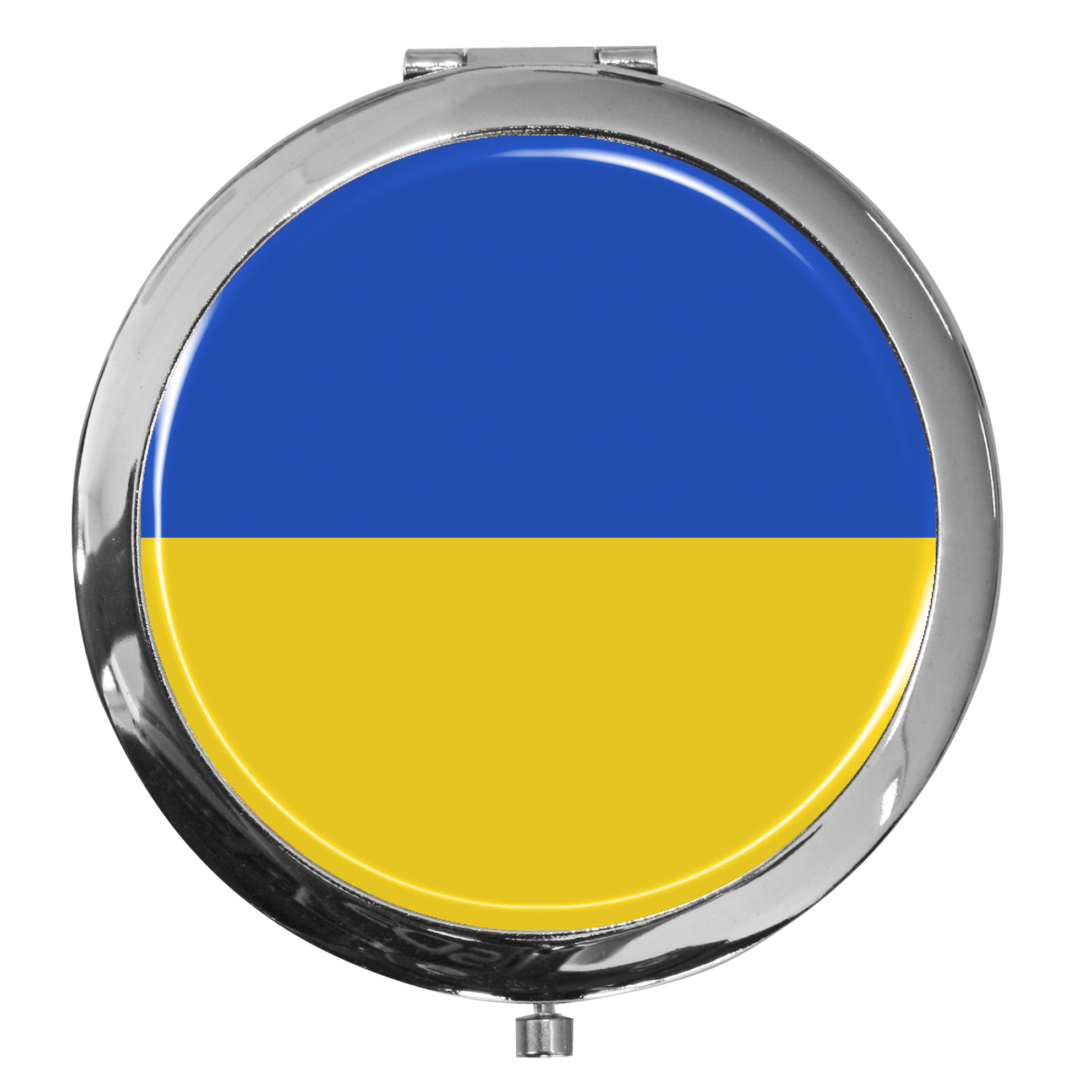 "metALUm - Extragroße Pillendose in runder Form ""Flagge Ukraine"""
