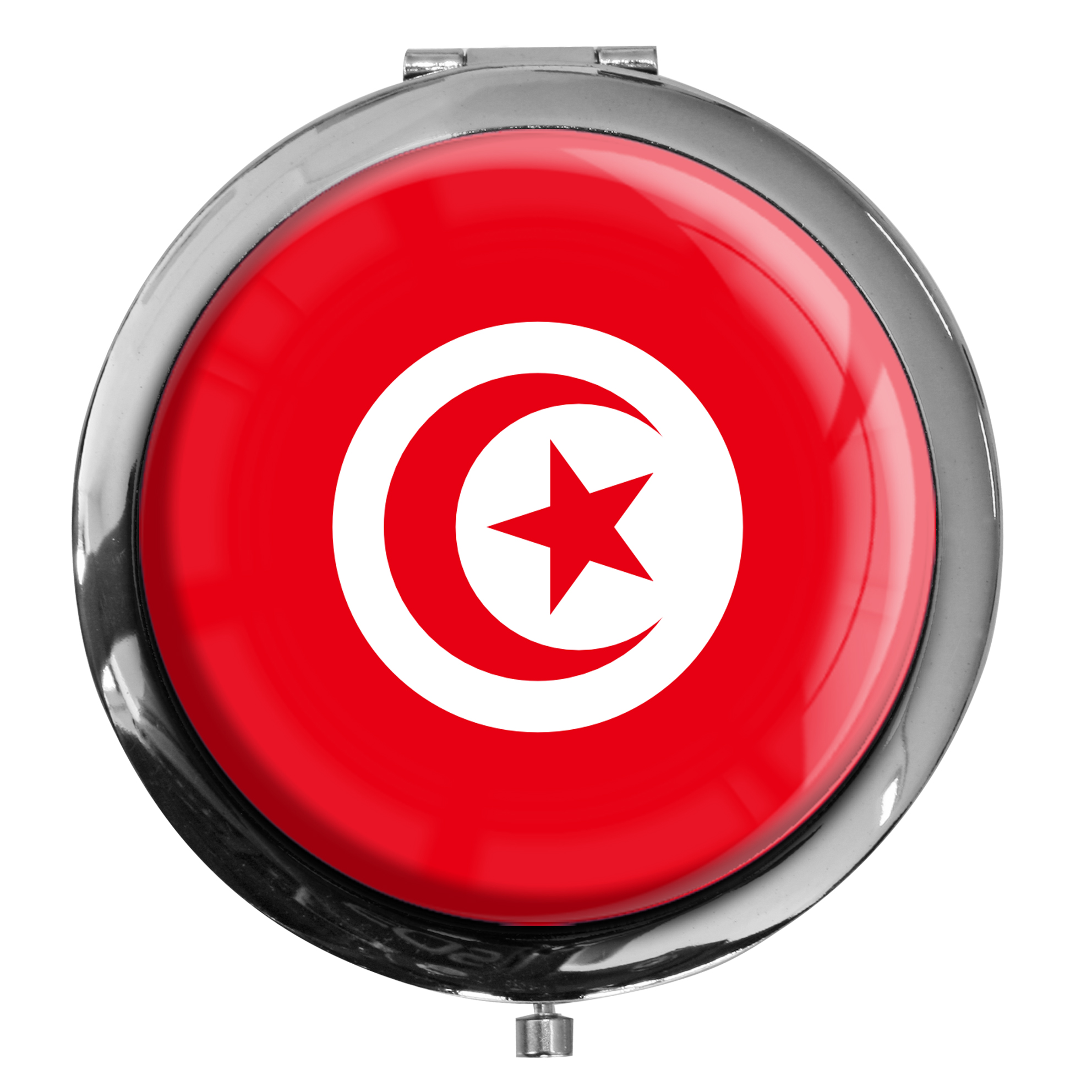 "metALUm - Extragroße Pillendose in runder Form ""Flagge Tunesien"""