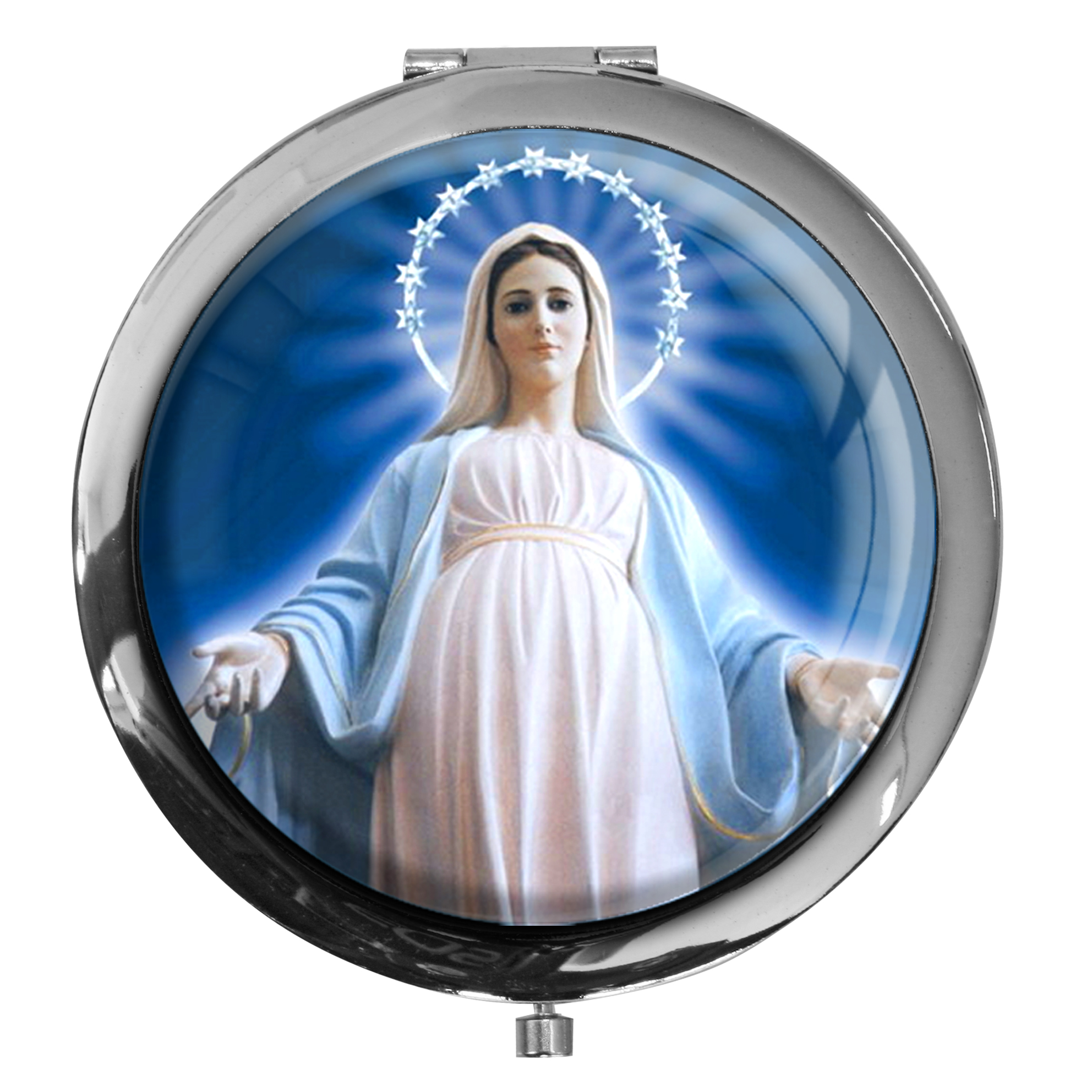 "metALUm - Extragroße Pillendose in runder Form ""Jungfrau Maria"""