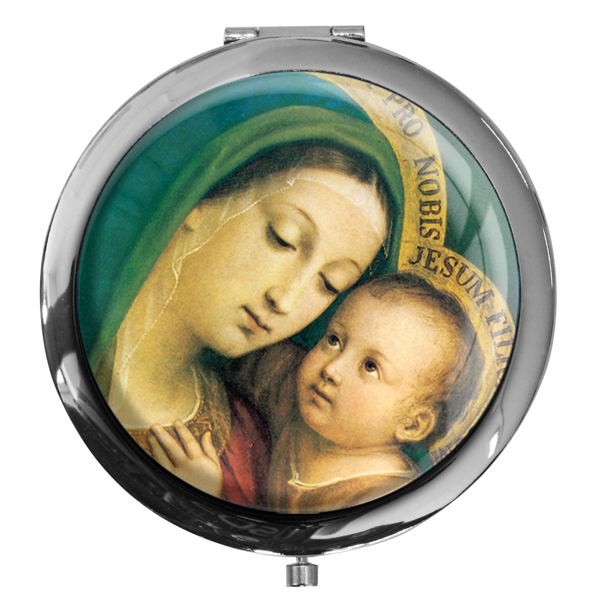 "metALUm - Extragroße Pillendose in runder Form ""Jungfrau Maria mit Kind"""