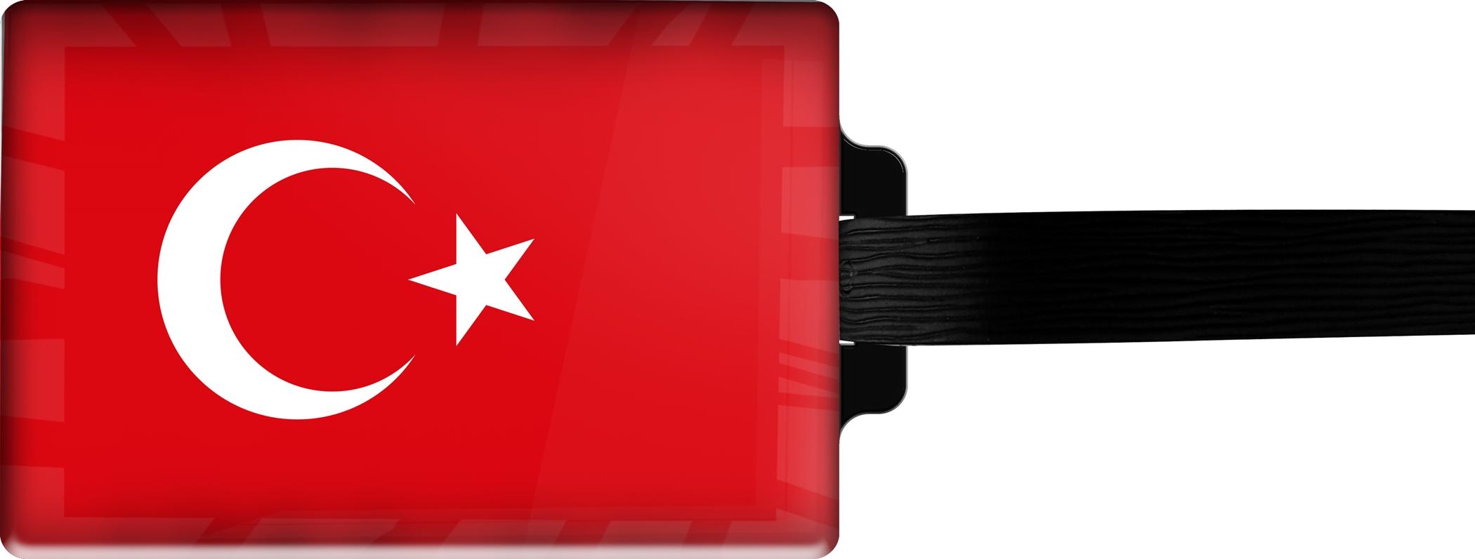 Hochwertiger Gepäckanhänger aus Acrylglas | FLAGGE TÜRKEI | metALUm #00073