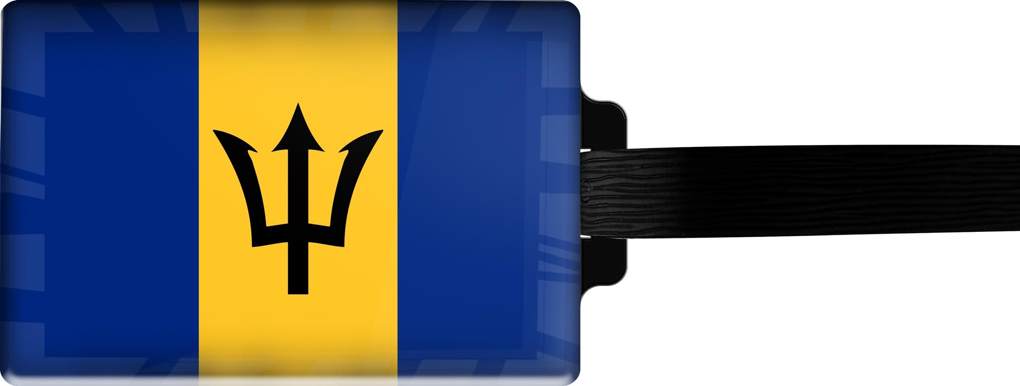 Hochwertiger Gepäckanhänger aus Acrylglas | FLAGGE BARBADOS | metALUm #00081