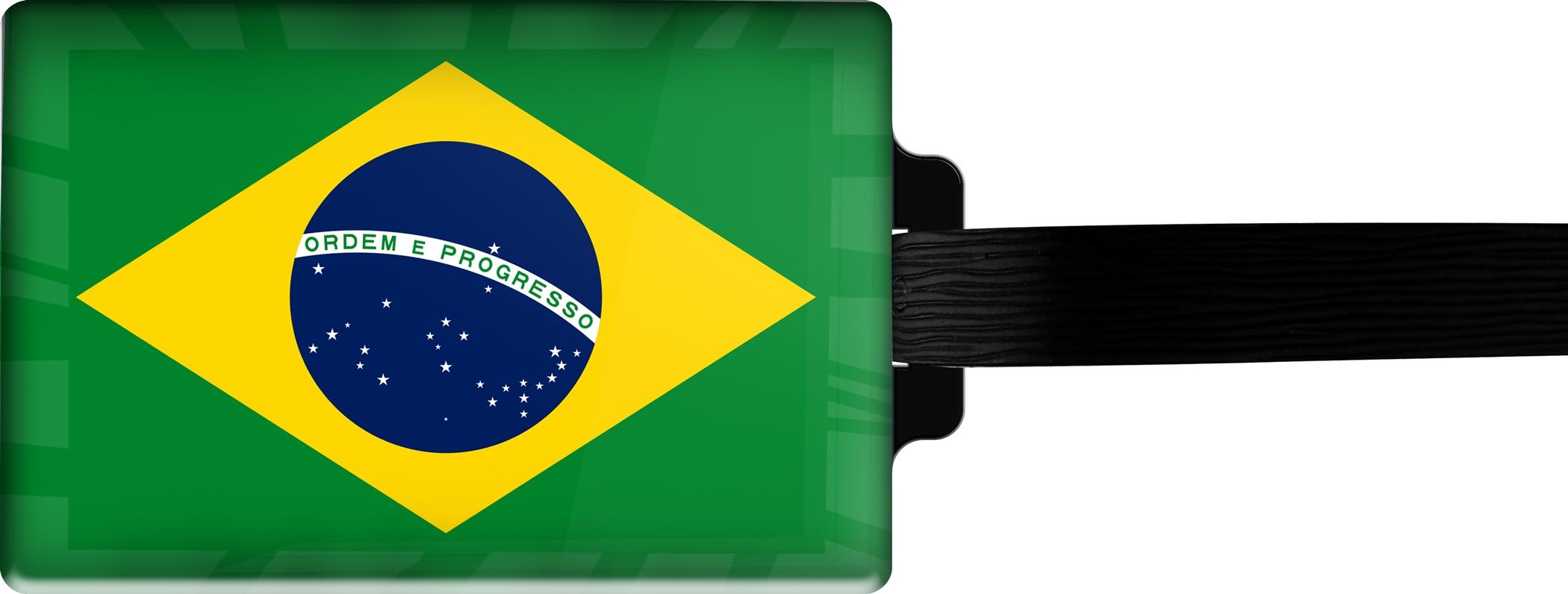 Hochwertiger Gepäckanhänger aus Acrylglas | FLAGGE BRASILIEN | metALUm #00083