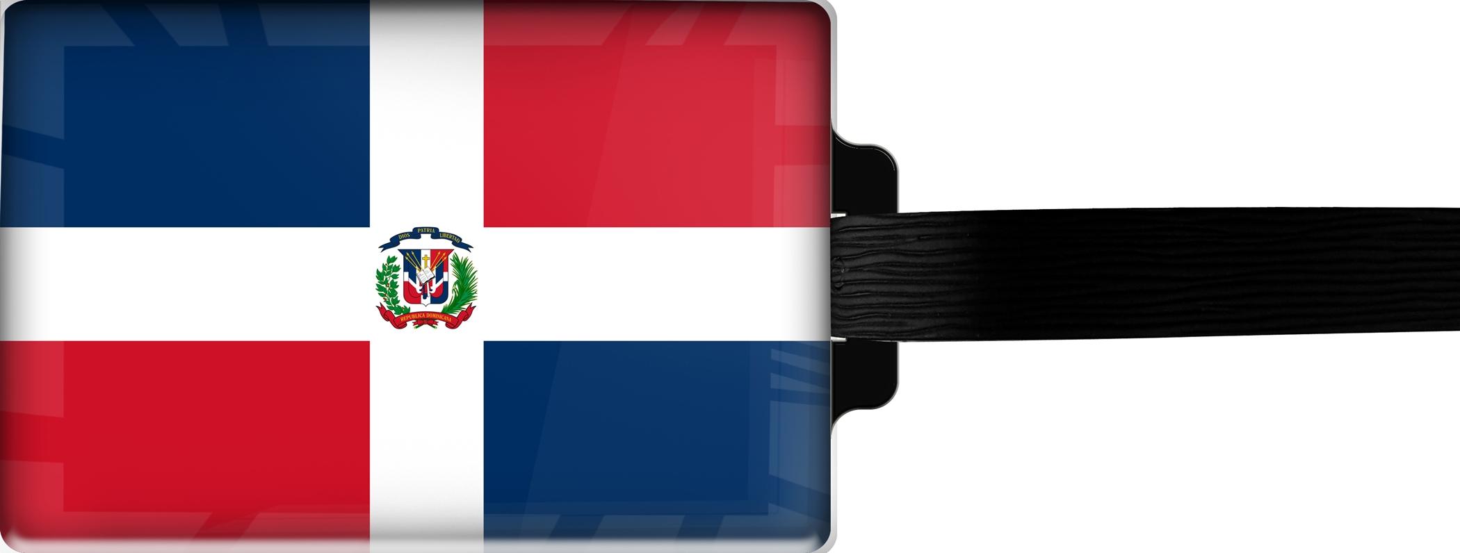 Hochwertiger Gepäckanhänger aus Acrylglas | FLAGGE DOMINIKANISCHE REPUBLIK | metALUm #00086