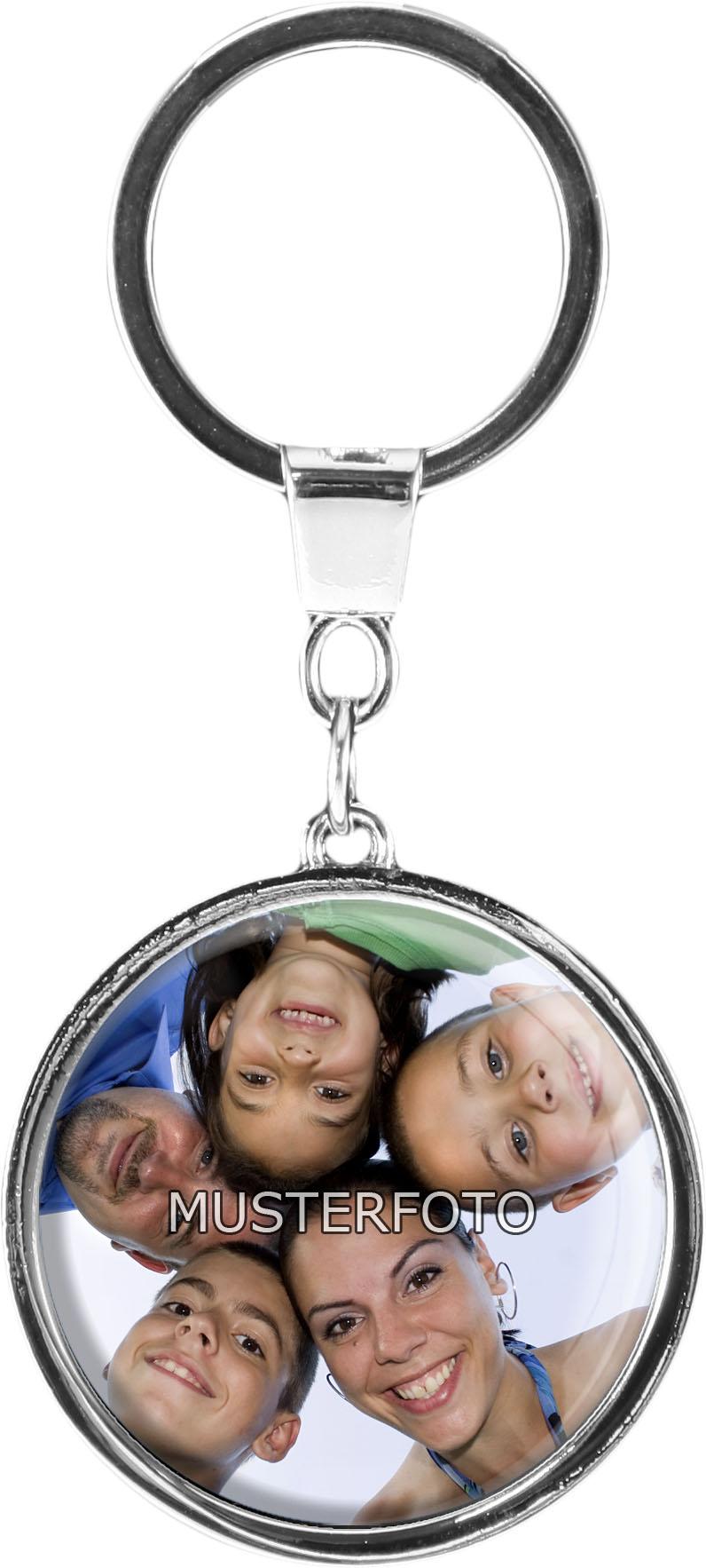 """Personalisierbarer Schlüsselanhänger in runder Form """"Mit Ihrem eigenen Foto"""""""